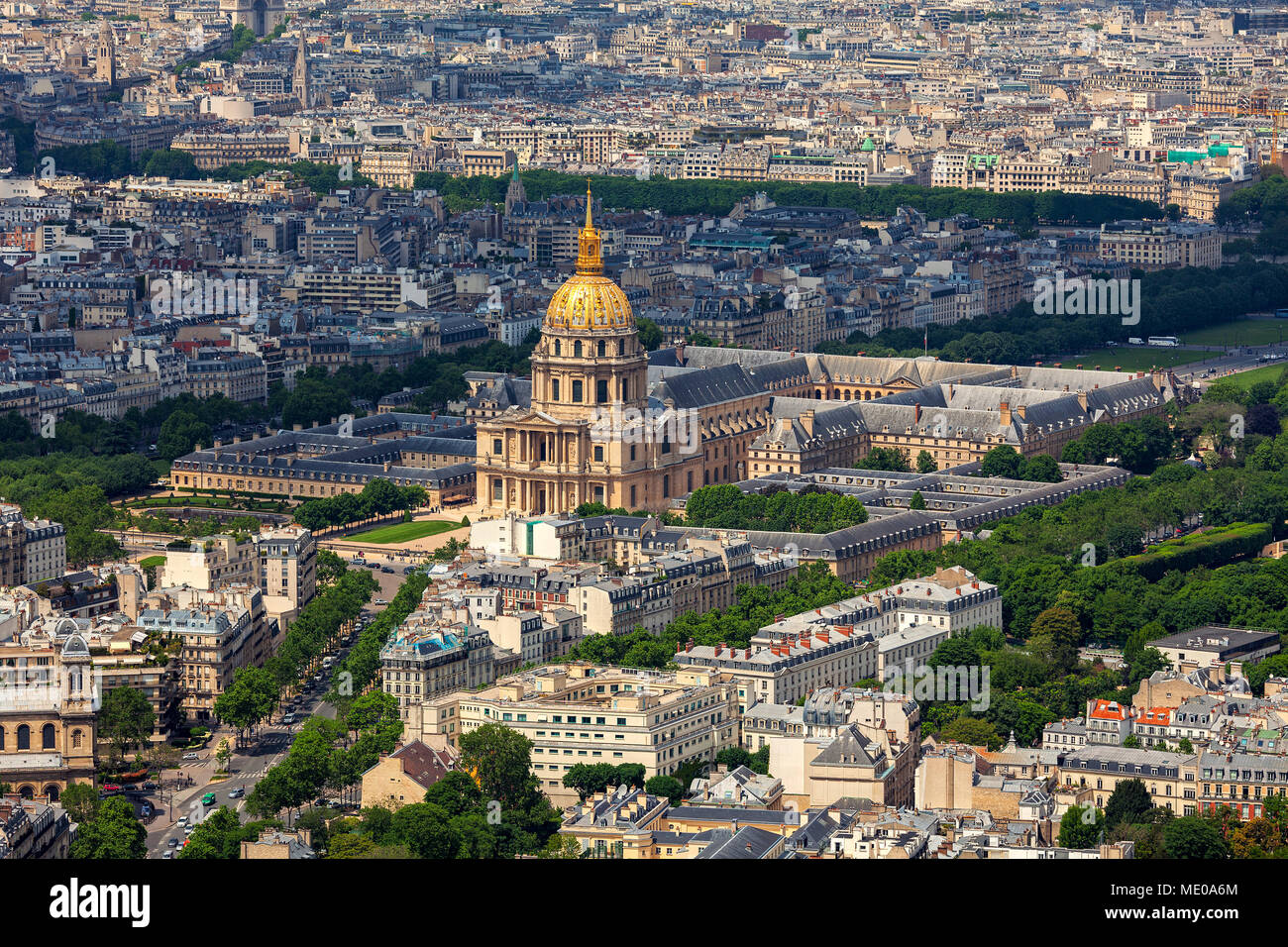 Aerial view of famous Les Invalides and typical Parisian buildings as seen from Montparnasse Tower in Paris, France. - Stock Image