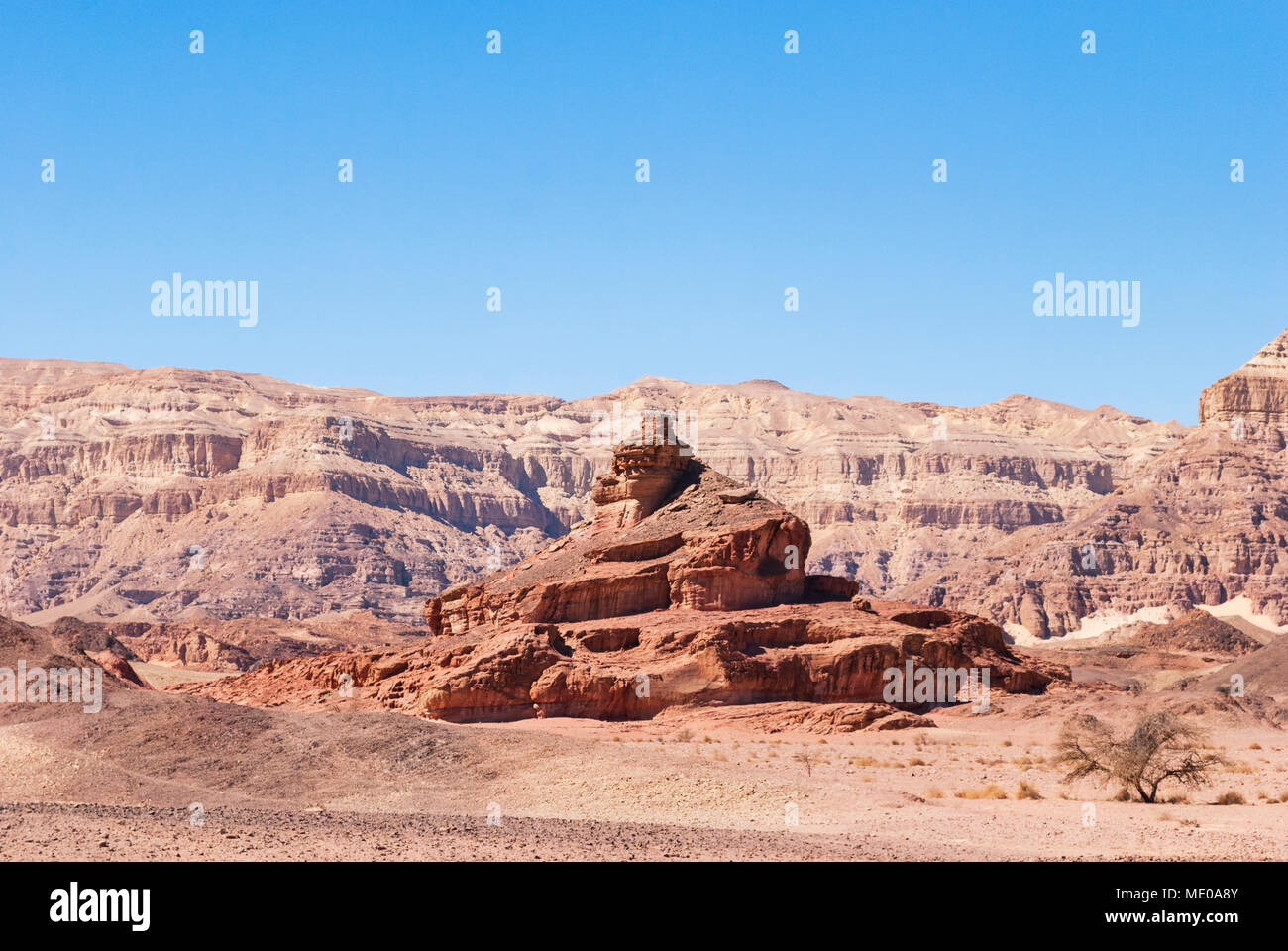the spiral hill is one of many unique sandstone landforms at Timna Park in southern Israel - Stock Image