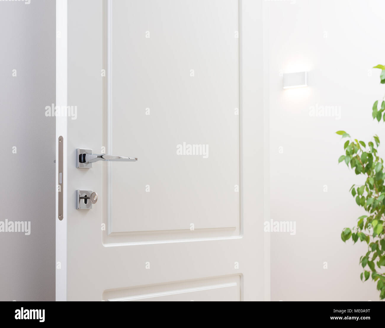 modern white interior door. The Open White Interior Doors. Modern Chrome Handle And Lock With Key. Wall Lamp Green Plant In Background Door