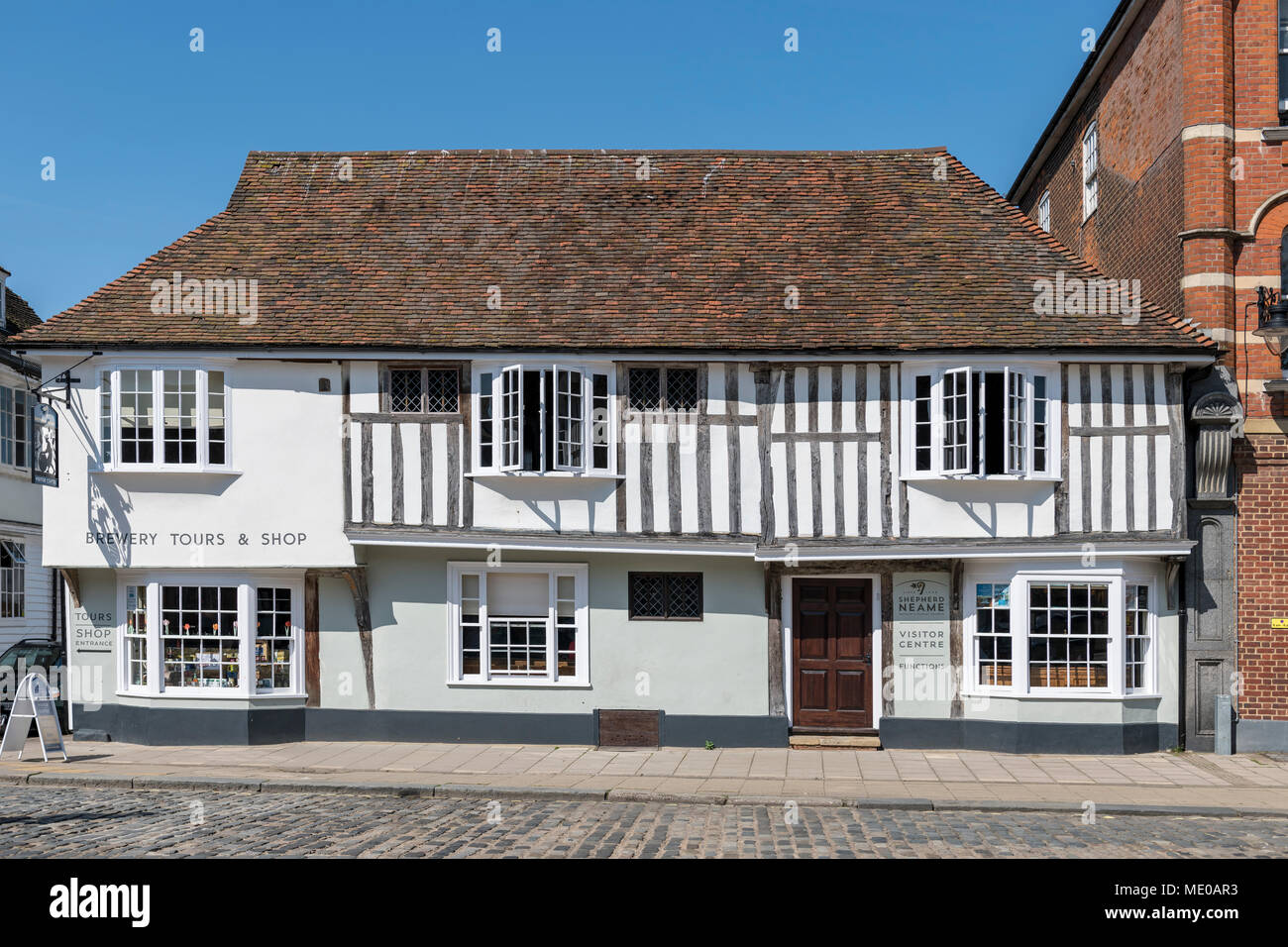 Medieval hall house on Court street, Faversham Kent now the front of the Shepherd Neame brewery visitor centre. - Stock Image