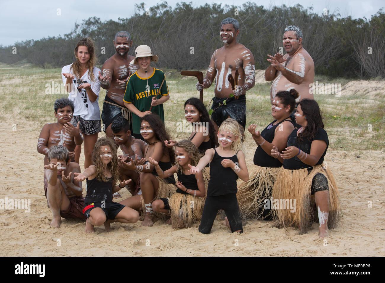 Aboriginal dance on beach, on Fraser Island, Australia, on 25 March 2018. - Stock Image