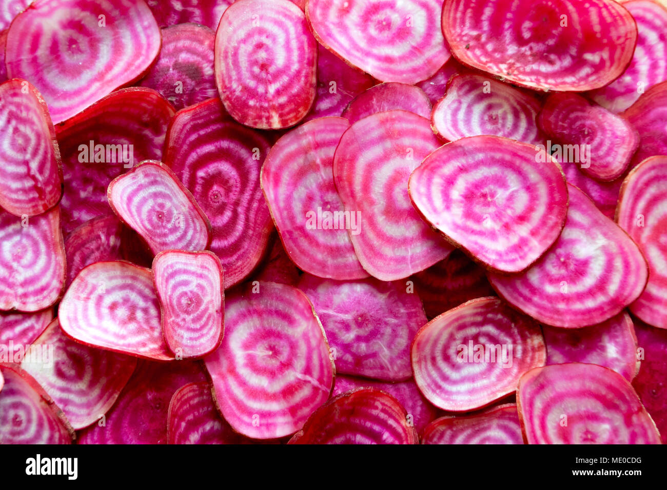 Colourful root vegetables slices.  Sliced organic chioggia beets (candy beetroot) showing their vibrant red and white concentric rings. - Stock Image