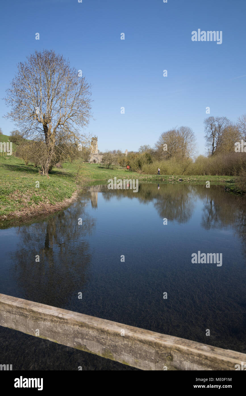 The pond at the deserted village of Wharram Percy in East Yorkshire - Stock Image