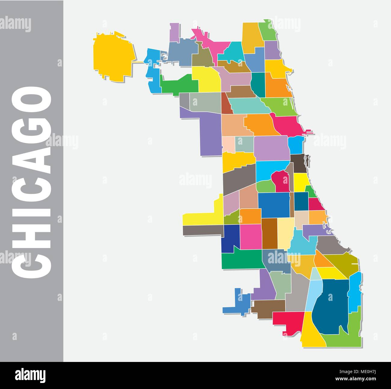 chicago cooorful neighborhood vector map Stock Vector Art ... on