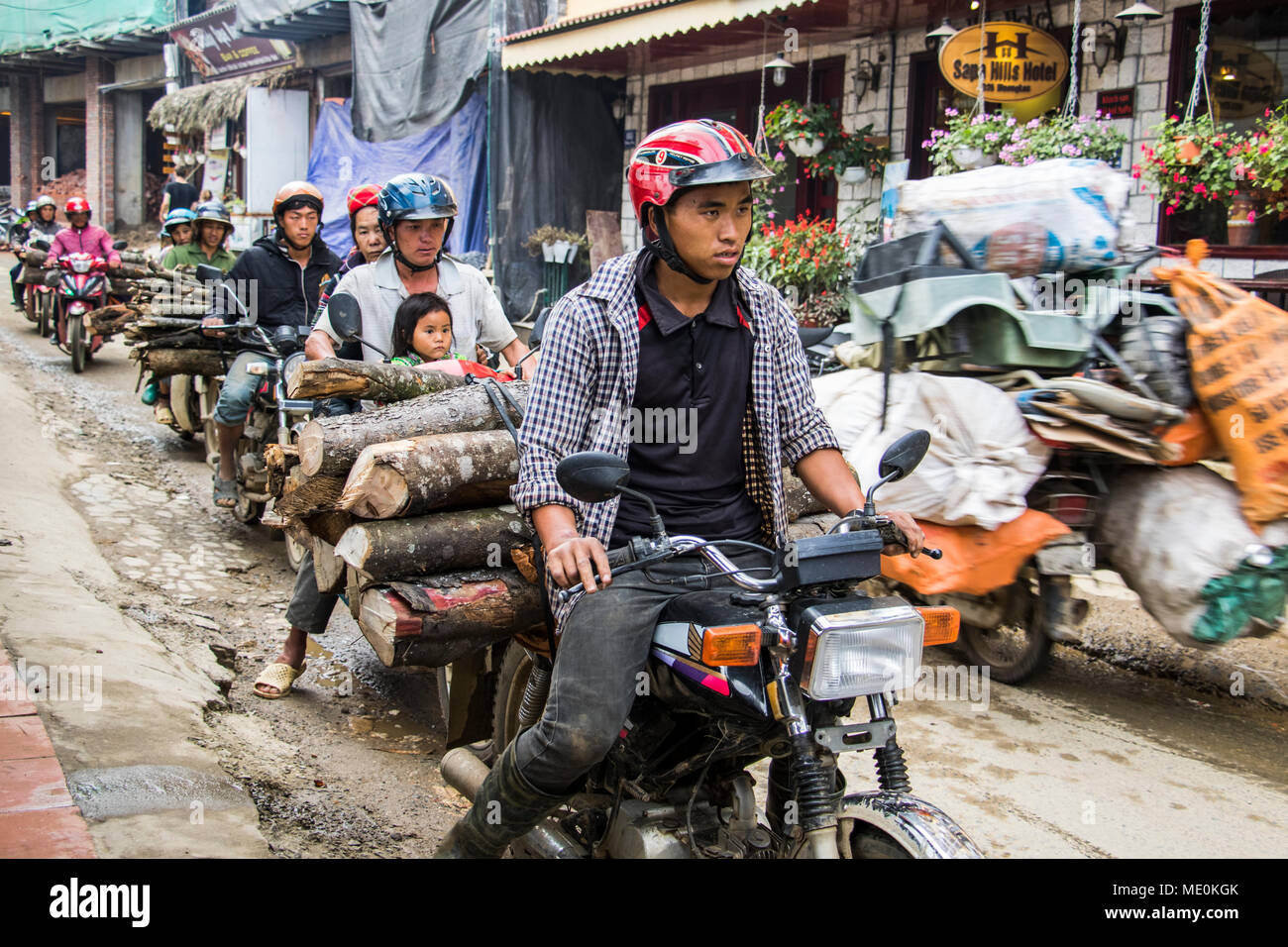 People hauling logs on motorbikes; Sapa, Lao Cai, Vietnam - Stock Image