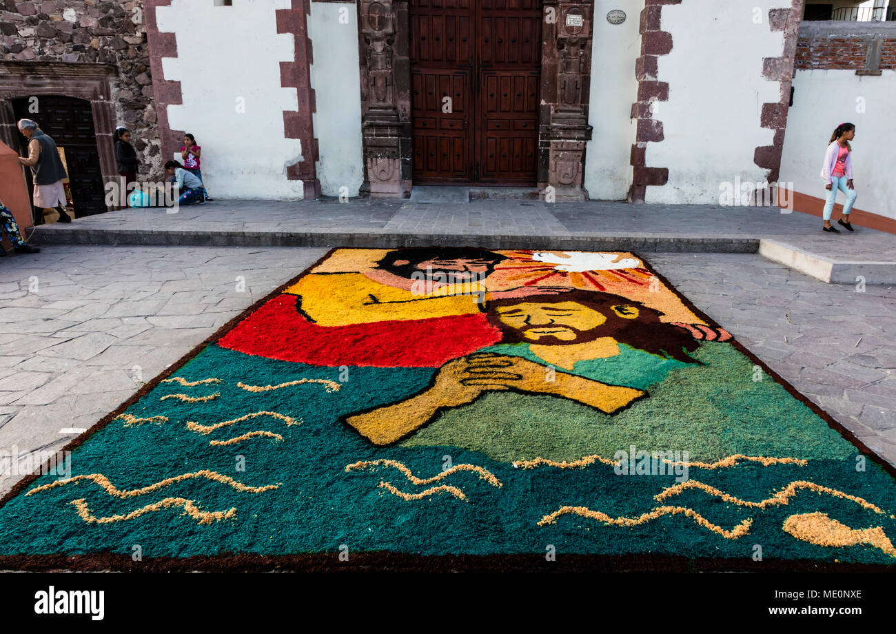 ALFOMBRAS or religious temporary carpets is set up at the San Antonio Church during Christmas - SAN MIGUEL DE ALLENDE, MEXICO