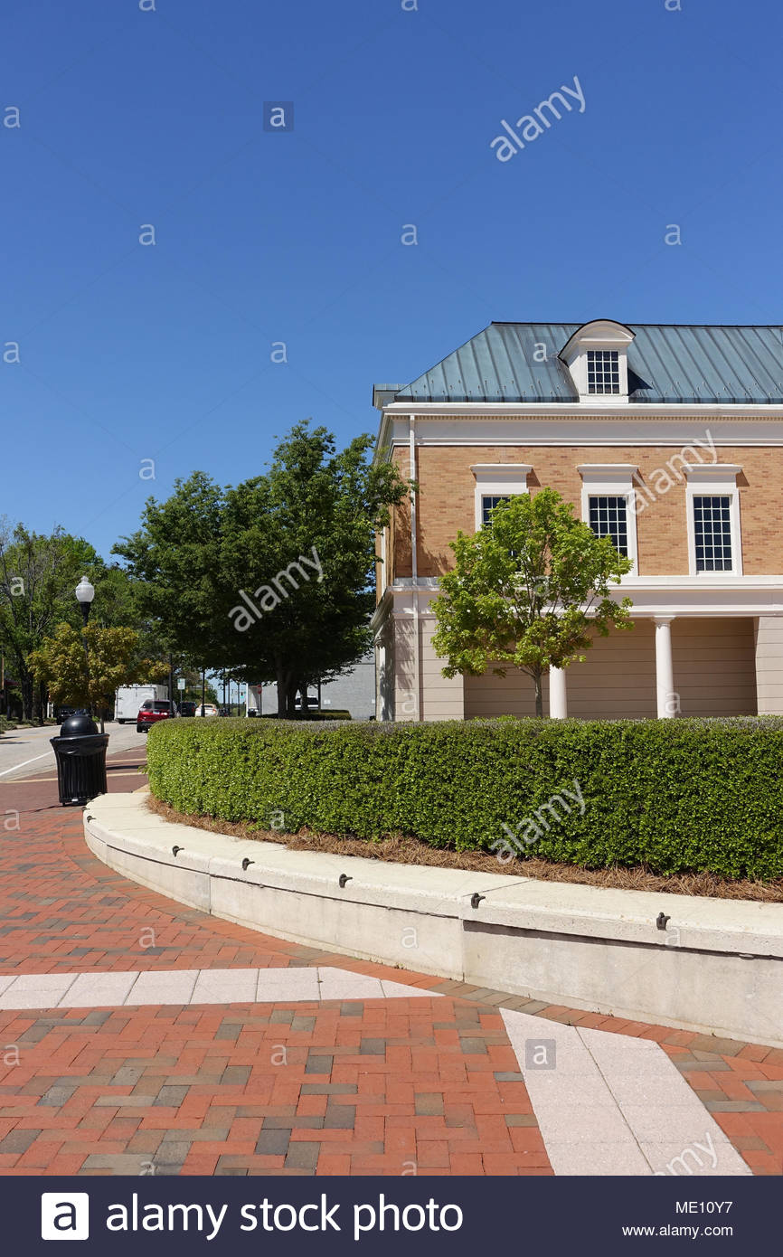 Street Corner in Downtown Cary, North Carolina Stock Photo