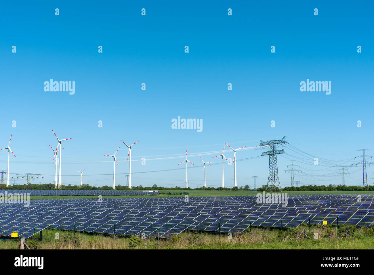 Renewable energy plants and power supply lines seen in Germany - Stock Image
