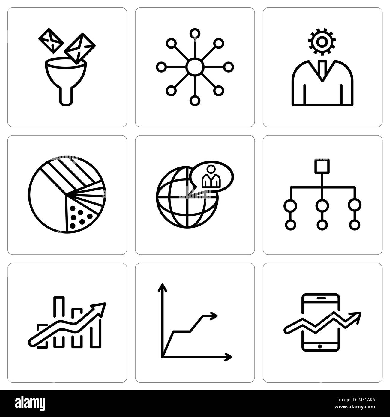 Set Of 9 Simple Editable Icons Such As Web Stocks Data Triangular