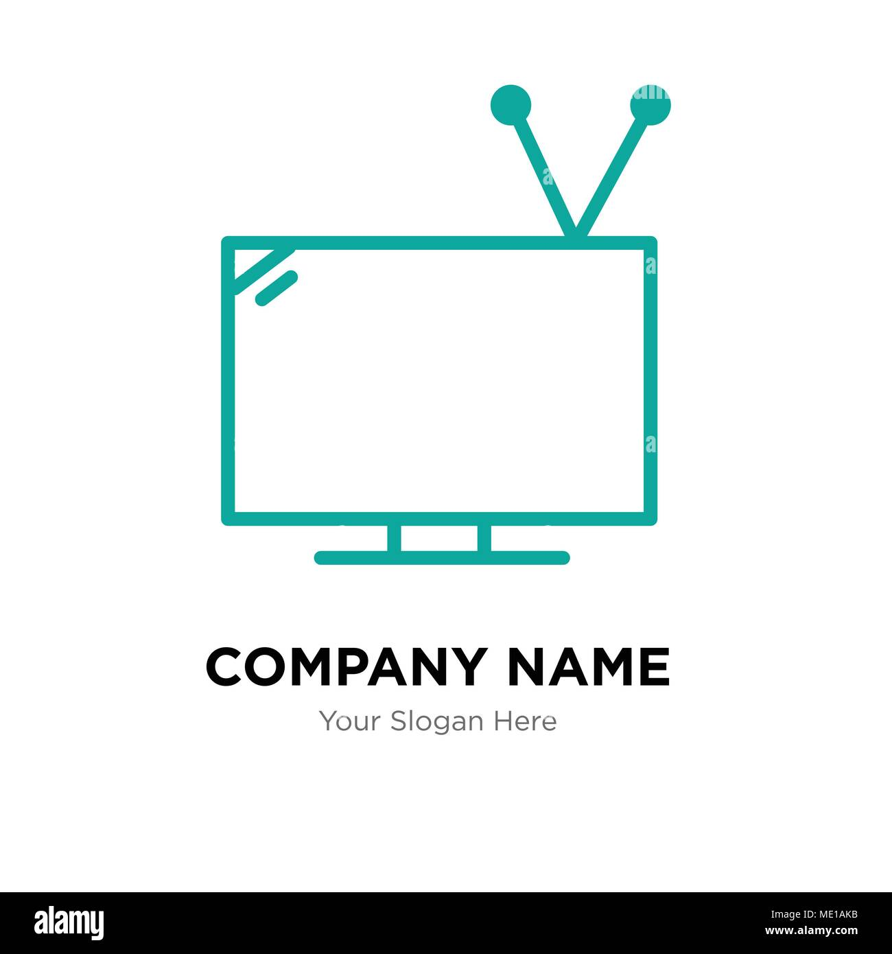 Television with antenna company logo design template, Business corporate vector icon - Stock Image