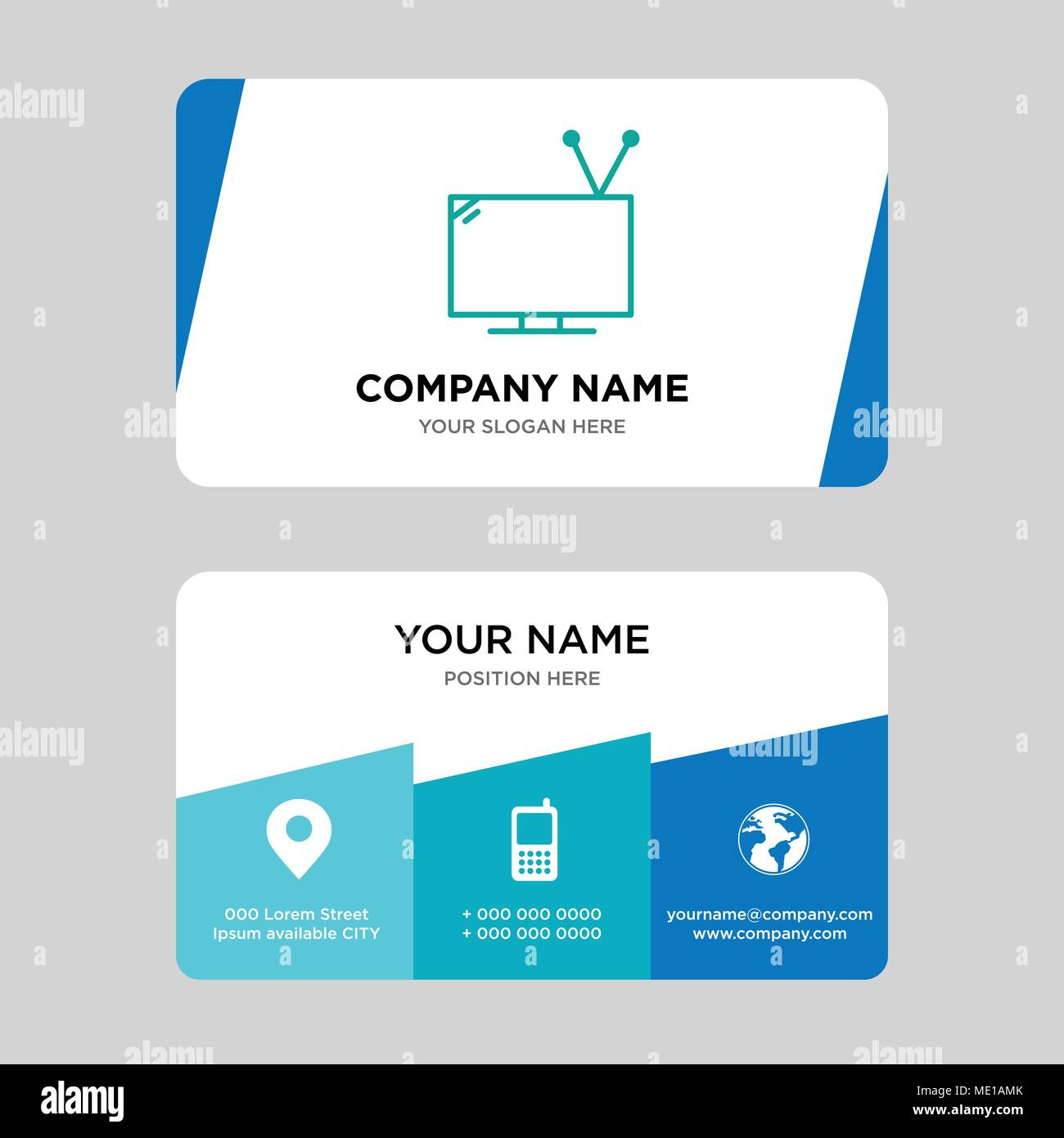 Television with antenna business card design template, Visiting for your company, Modern Creative and Clean identity Card Vector Illustration - Stock Image