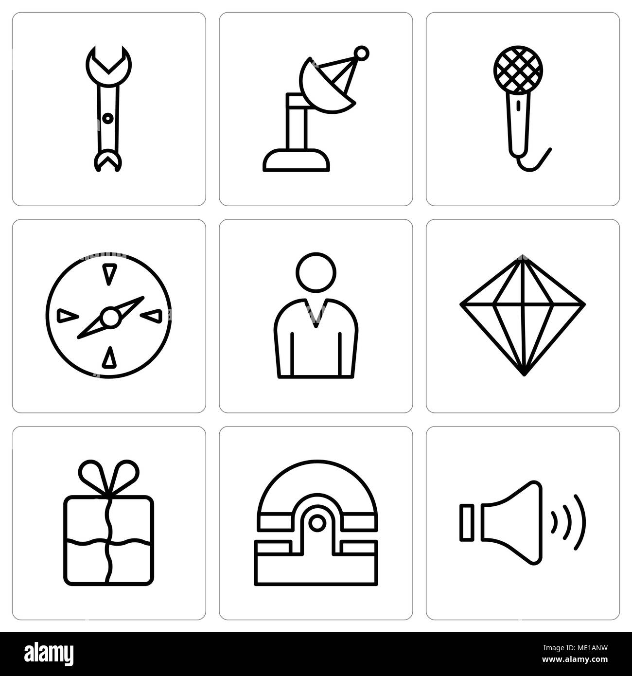 Set Of 9 simple editable icons such as Mute speakers, Old phone, Bookmark, Diamond, Male avatar, Compass, Voice recorder, Satellite dish, Wrench, can  - Stock Image
