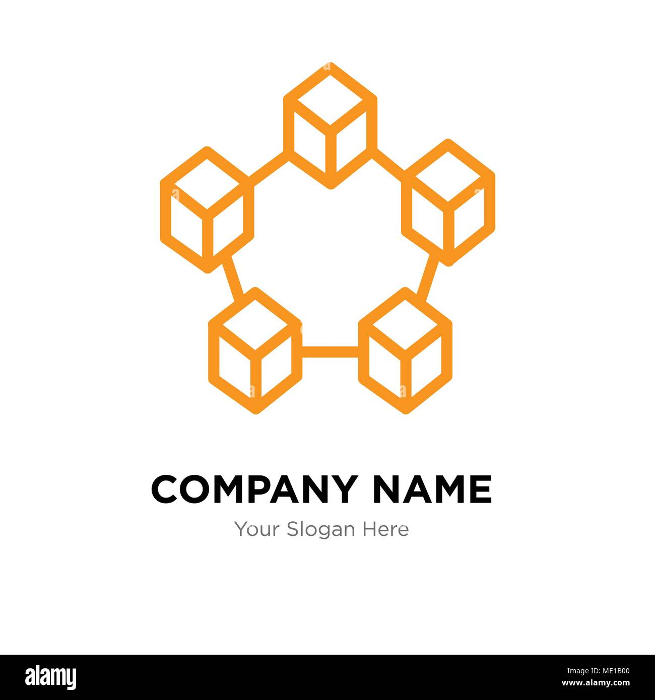 Data interconnected company logo design template, Business corporate vector icon - Stock Image