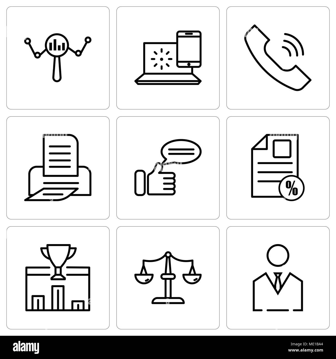 Set Of 9 simple editable icons such as business man, scales, 1st place, document percent, comment, print, call, internet, search, can be used for mobi - Stock Vector