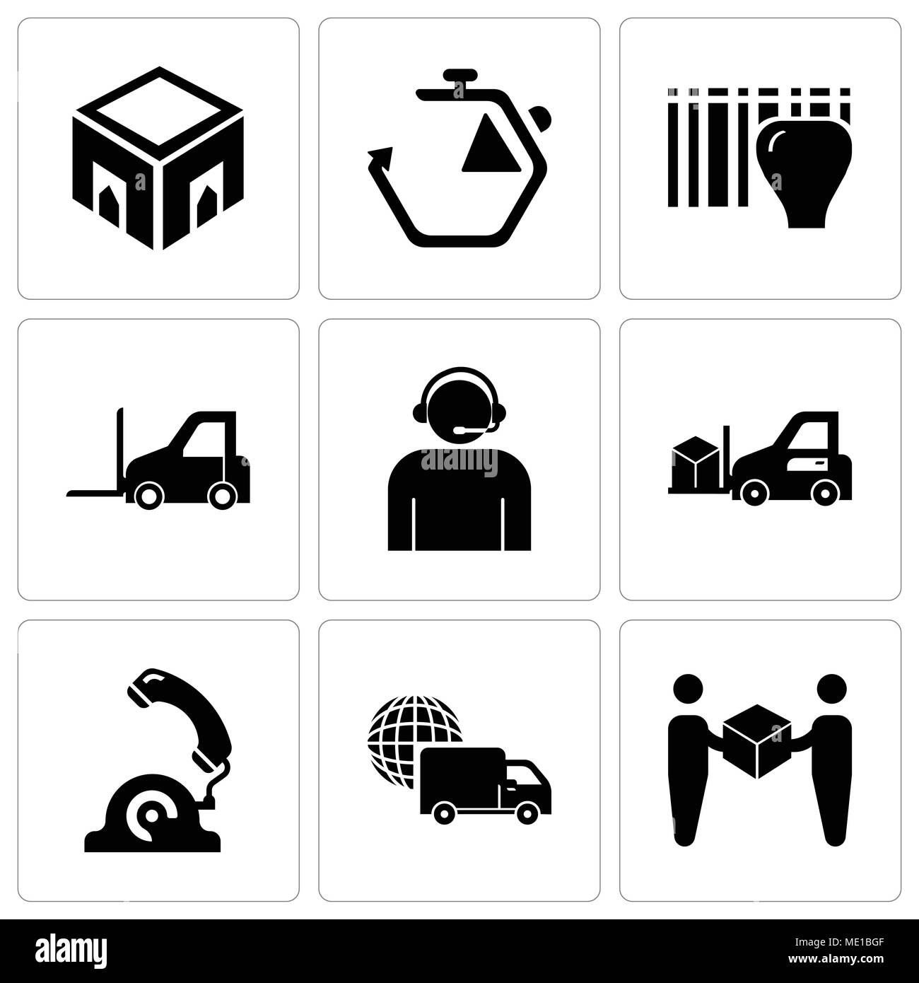 Set Of 9 simple editable icons such as Delivery worker giving a box to a receiver, International logistics delivery truck, Telephone, Delivery transpo - Stock Image