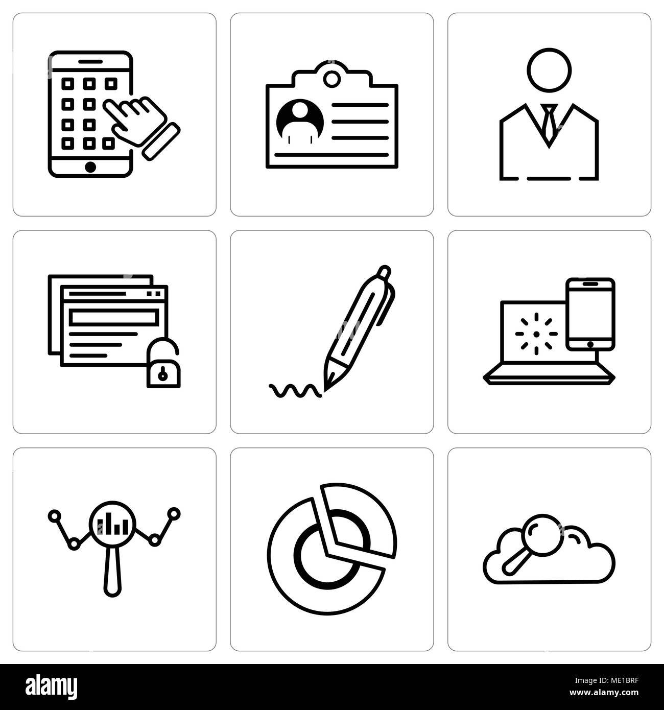 Set Of 9 Simple Editable Icons Such As Search Data Pie Chart