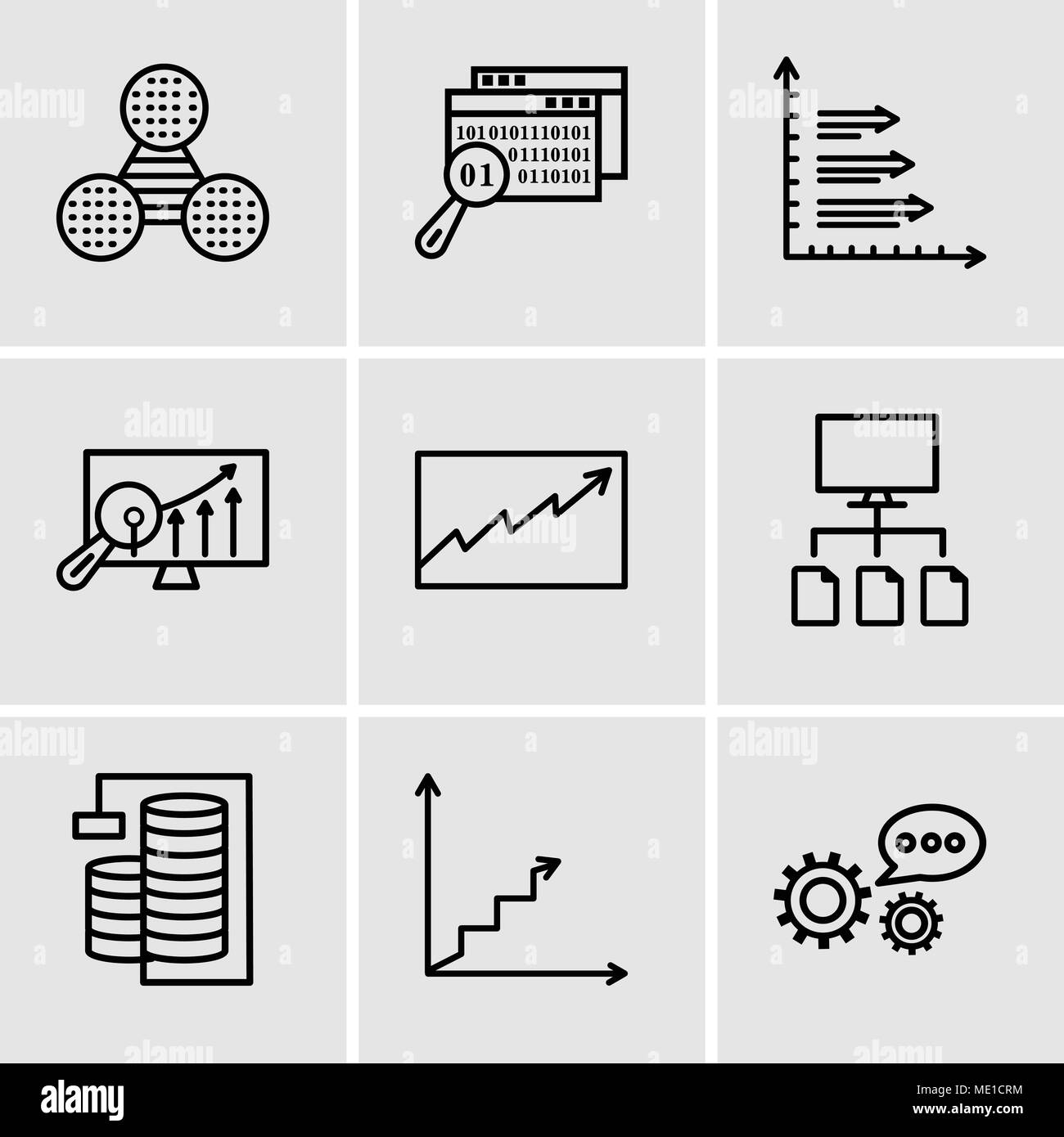 Set Of 9 simple editable icons such as 3d data analytics, Data analytics ascending, Database Analysis, Data flow, Data analytics, Analytics Settings,  - Stock Image