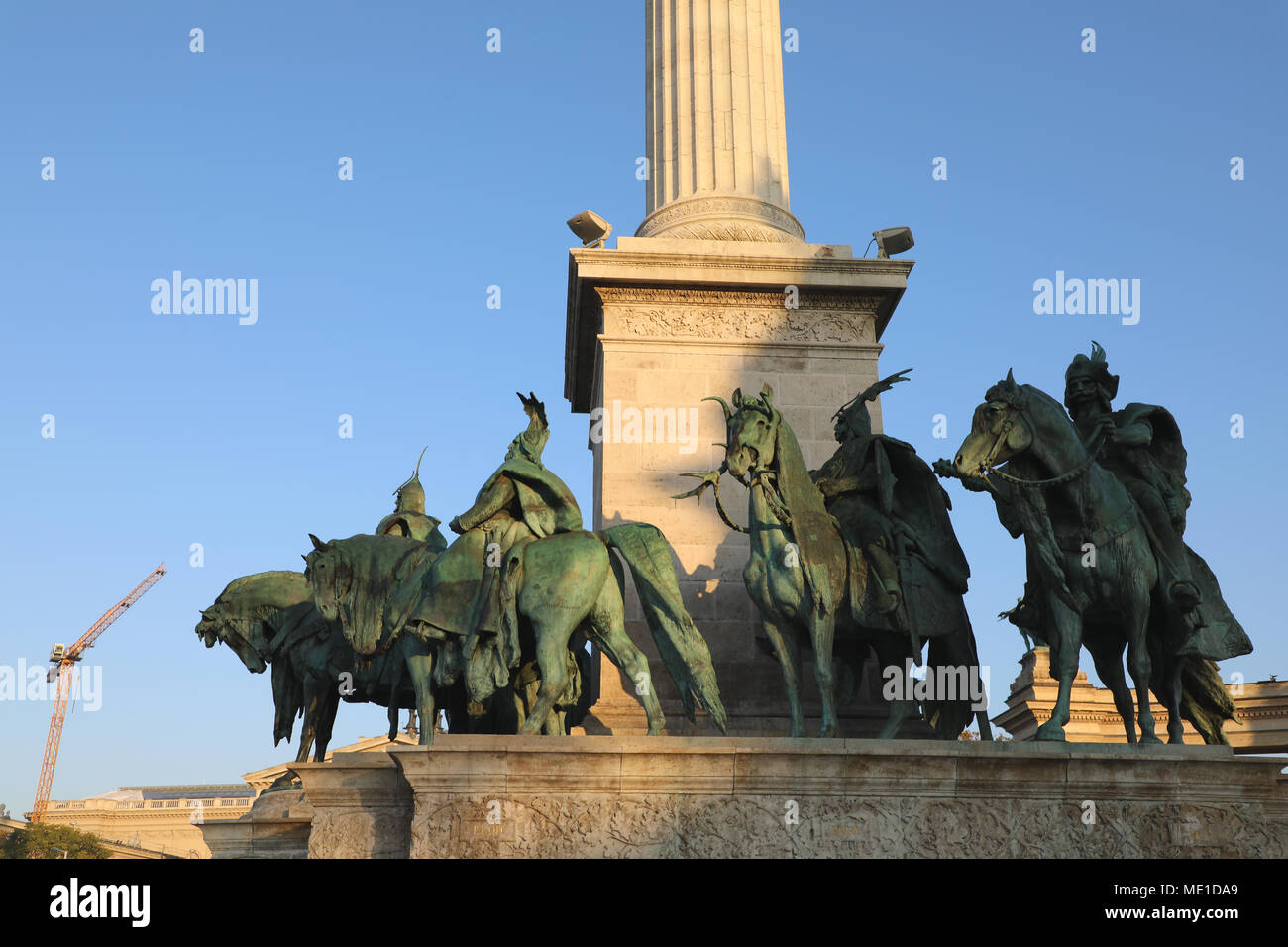 Heroes' Square Budapest Hungary Statues of Kinds and Royalty Stock Photo
