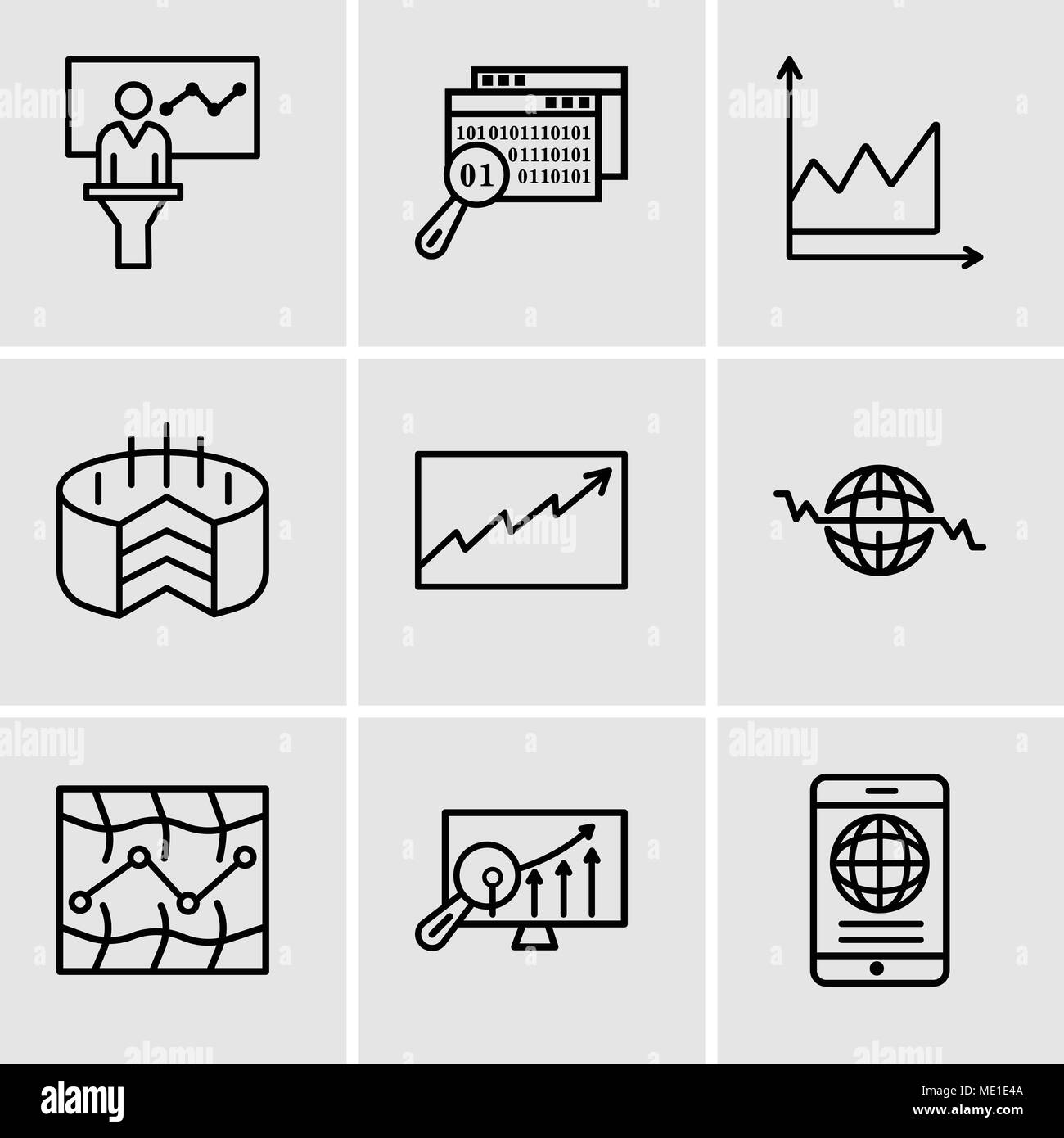Set Of 9 Simple Editable Icons Such As Mobile Phone Globally