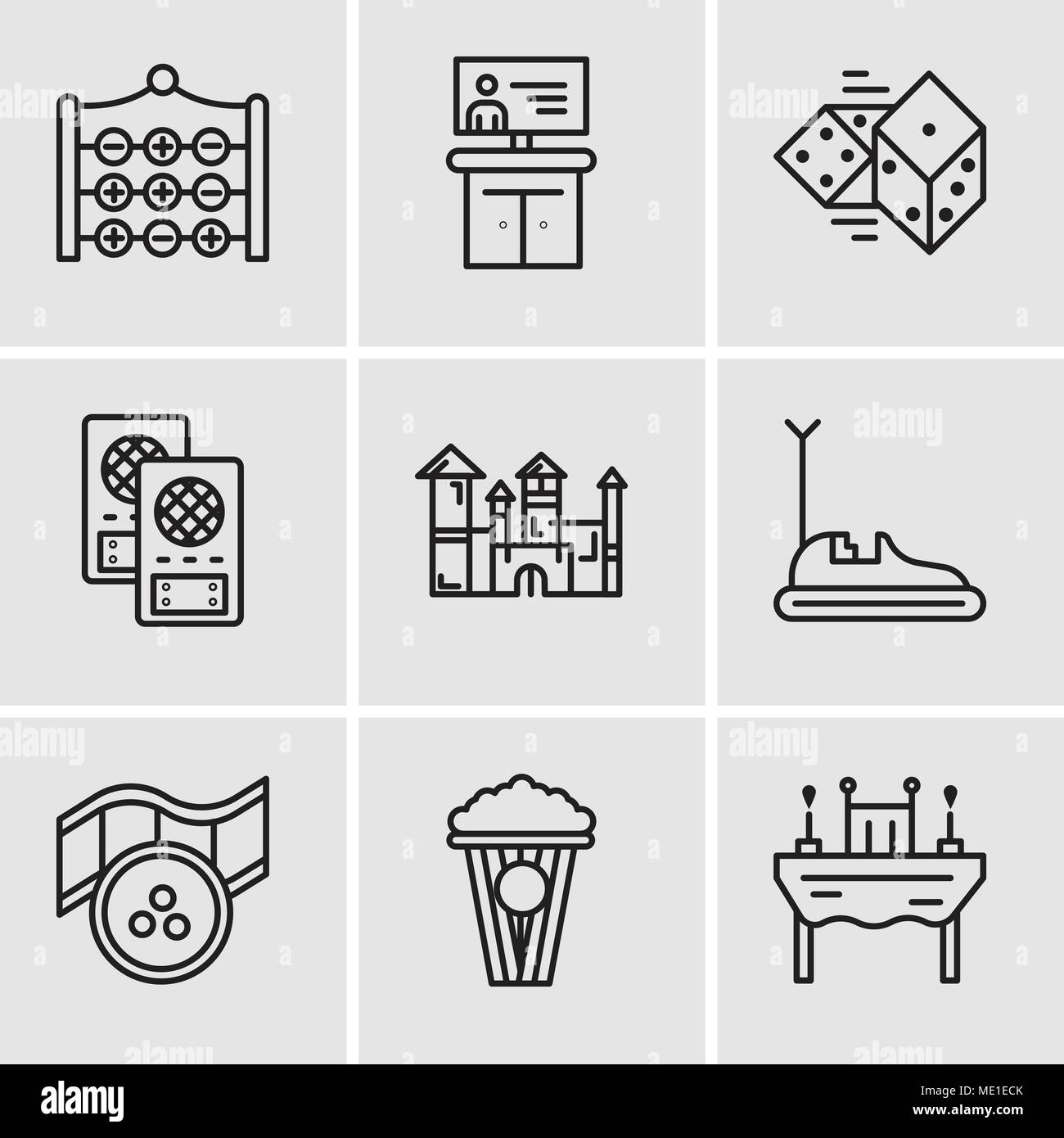 Set Of 9 simple editable icons such as Dinner, Popcorn, Movie, Bumper car, Disneyland, Loudspeaker, Dices, Tv, Tic tac toe, can be used for mobile, we - Stock Image