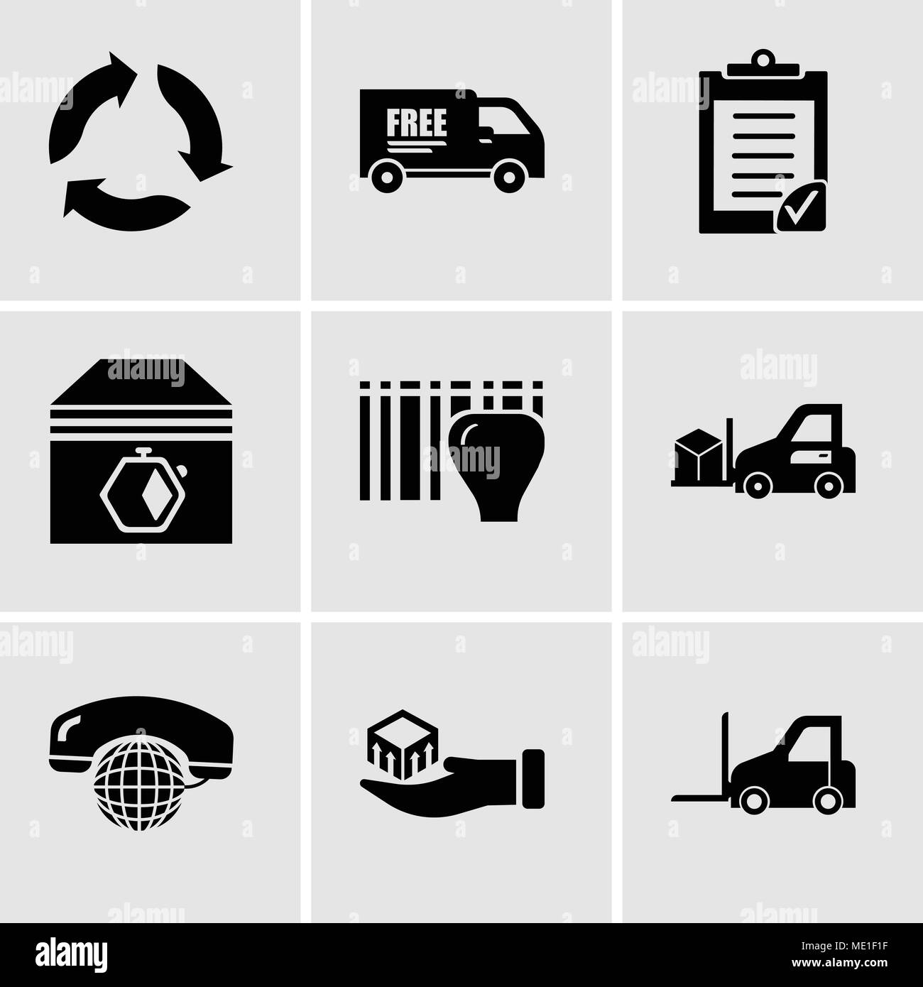 Set Of 9 simple editable icons such as Logistics transport, Package delivery in hand, International calling service, Delivery transportation machine,  - Stock Image