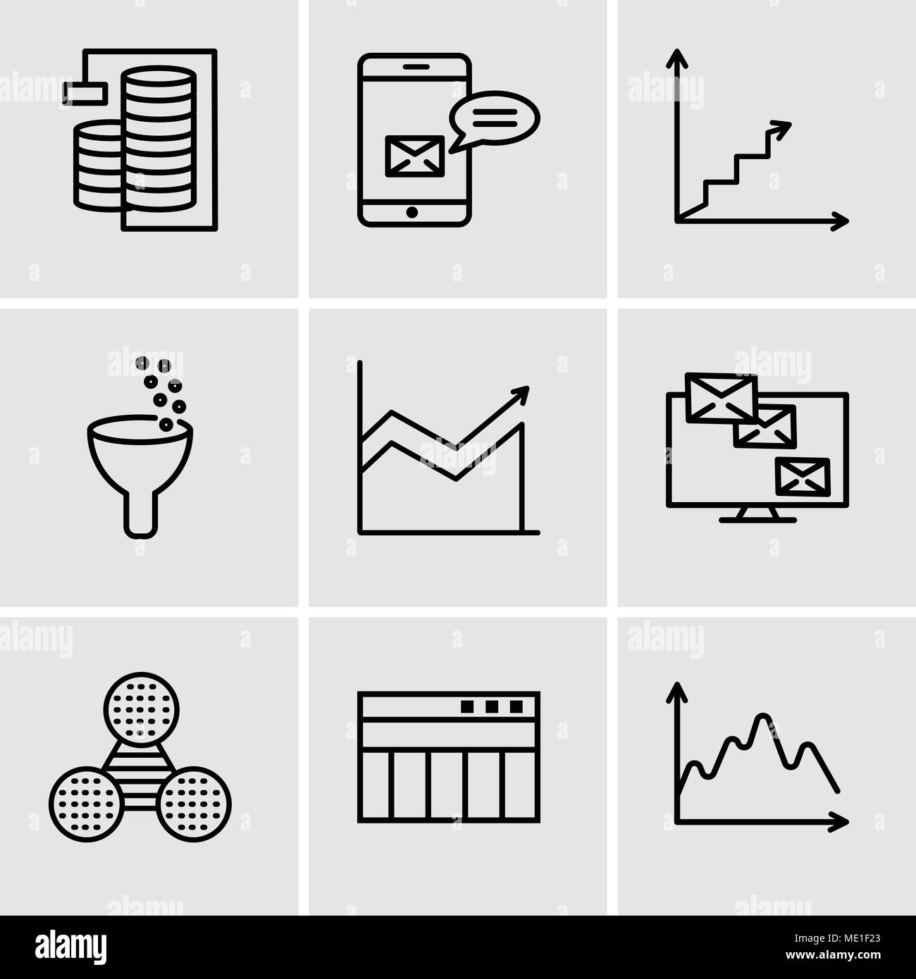 Set Of 9 simple editable icons such as Data, Table for data, Pie graphic comparison, Monitor analytic, Data analytics, Data analytics ascending, Data  - Stock Image