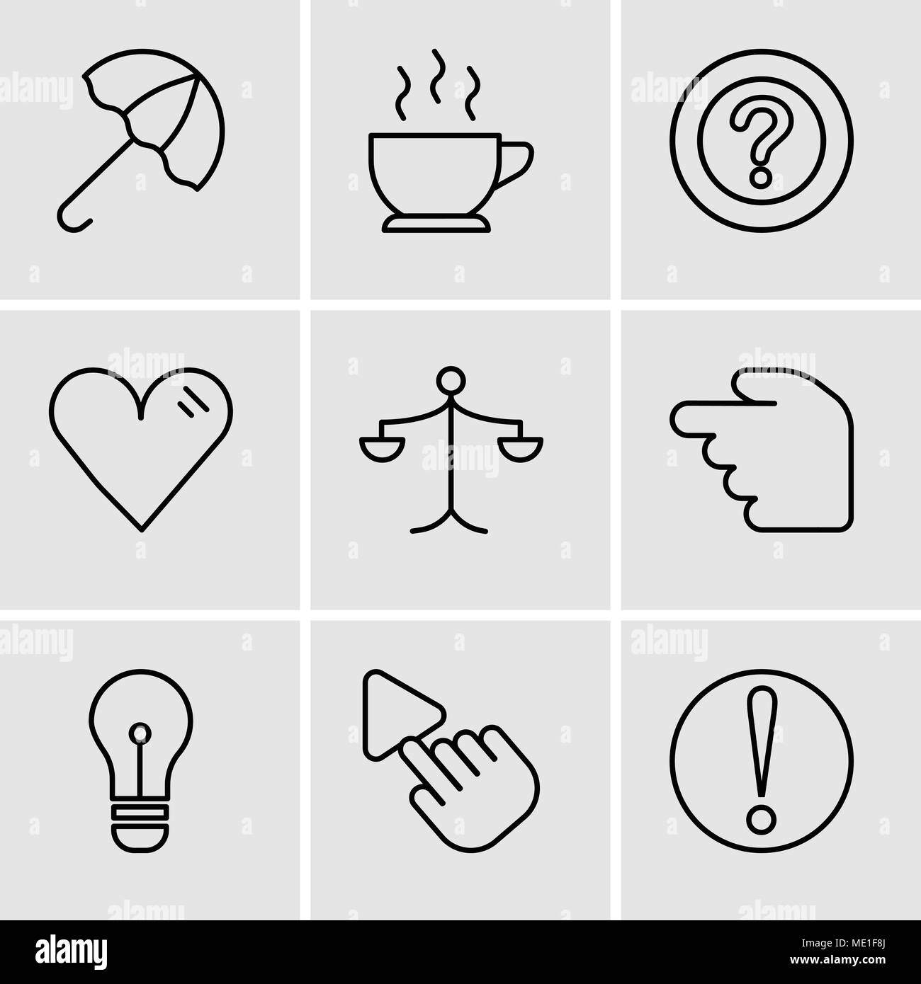 Set Of 9 simple editable icons such as Caution, Selection Tool, Light bulb, Hourglass, Weighing scale, Heart, Question mark, Cup of hot coffee, Open u - Stock Vector