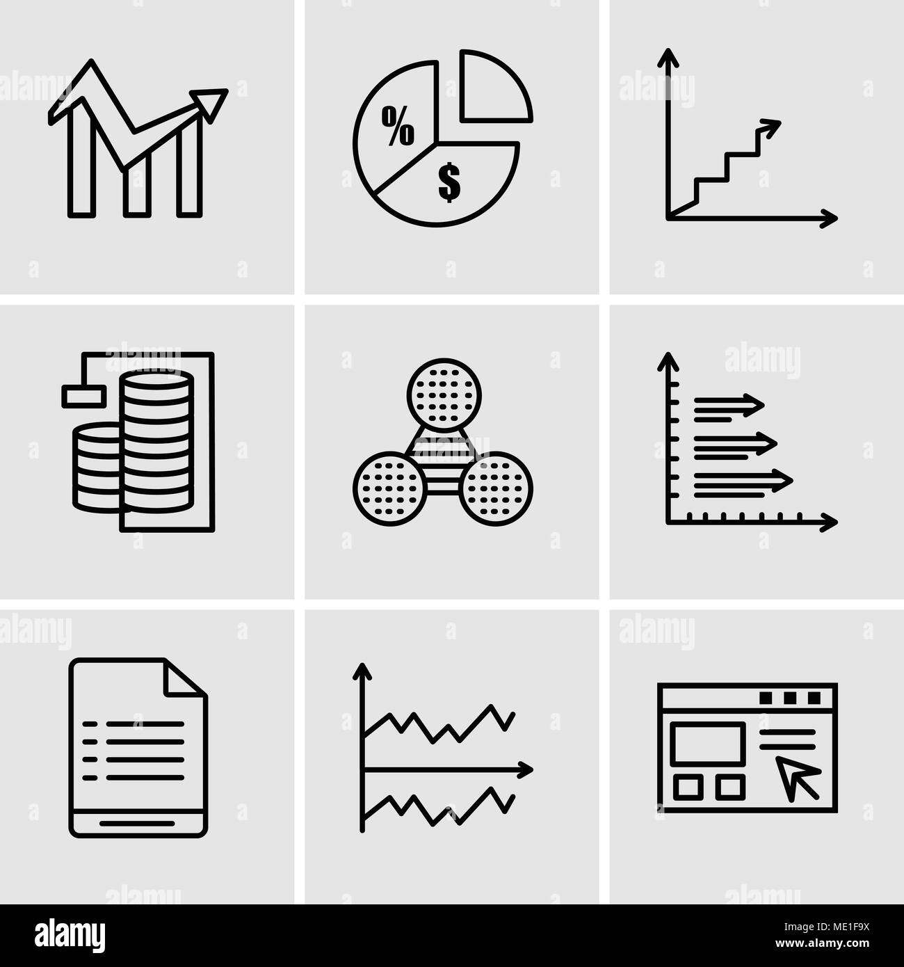 Set Of 9 simple editable icons such as Data import interface, Chart, User warning, Bars, Pie graphic comparison, Database Analysis, Data analytics asc - Stock Image