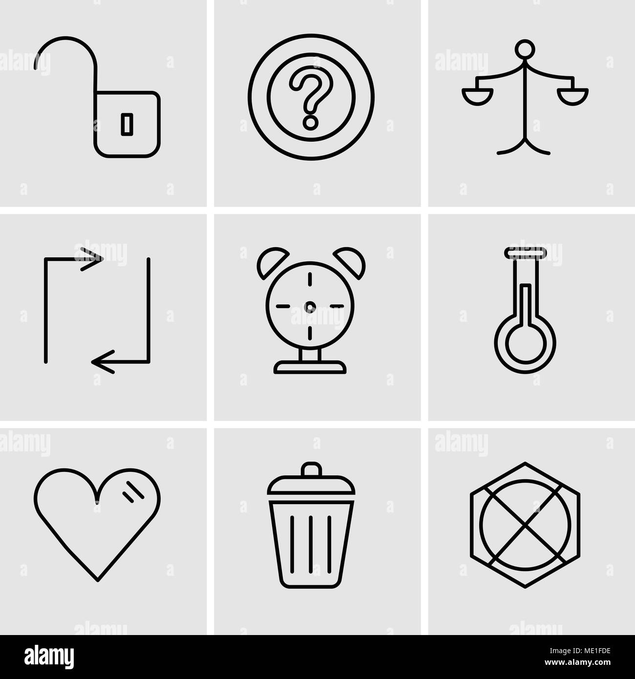 Set Of 9 simple editable icons such as Arrow pointing to up, Dustbin, Heart, Erlenmeyer Flask, Alarm clock, Update arrows, Weighing scale, Question ma - Stock Vector