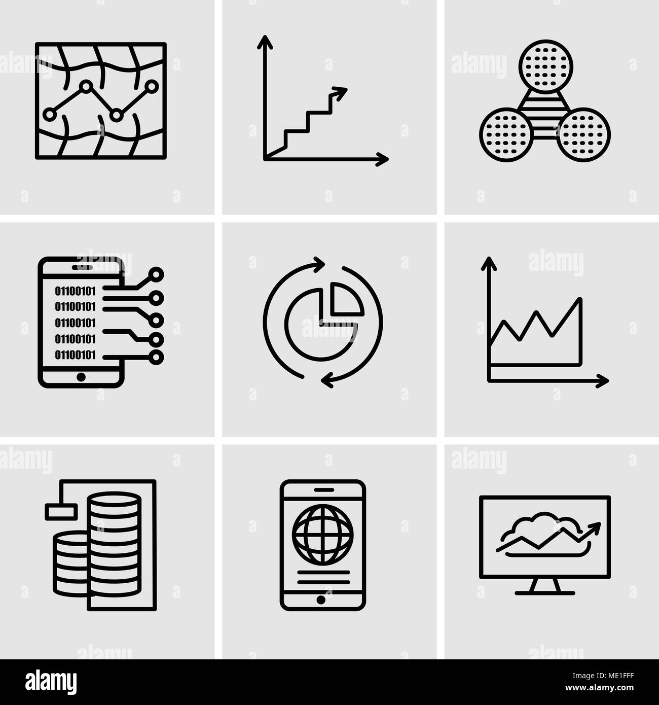 Set Of 9 simple editable icons such as Cloud Analysis, Mobile phone globally connected, Database Analysis, Data graphic, Data analysis pie chart, Data - Stock Image