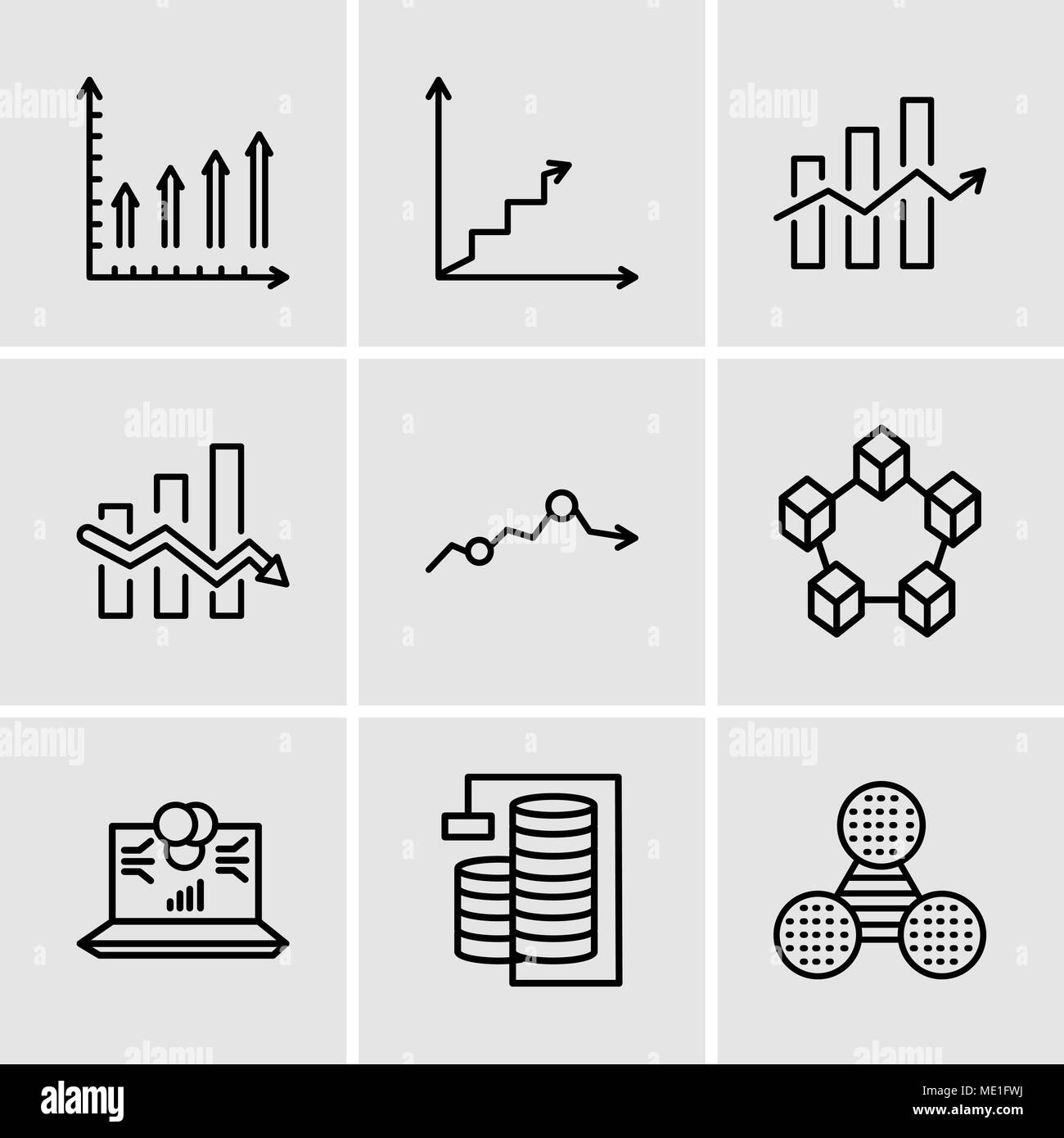 Set Of 9 simple editable icons such as Pie graphic comparison, Database Analysis, Laptop data analytics on screen with circles, Data interconnected, M - Stock Image