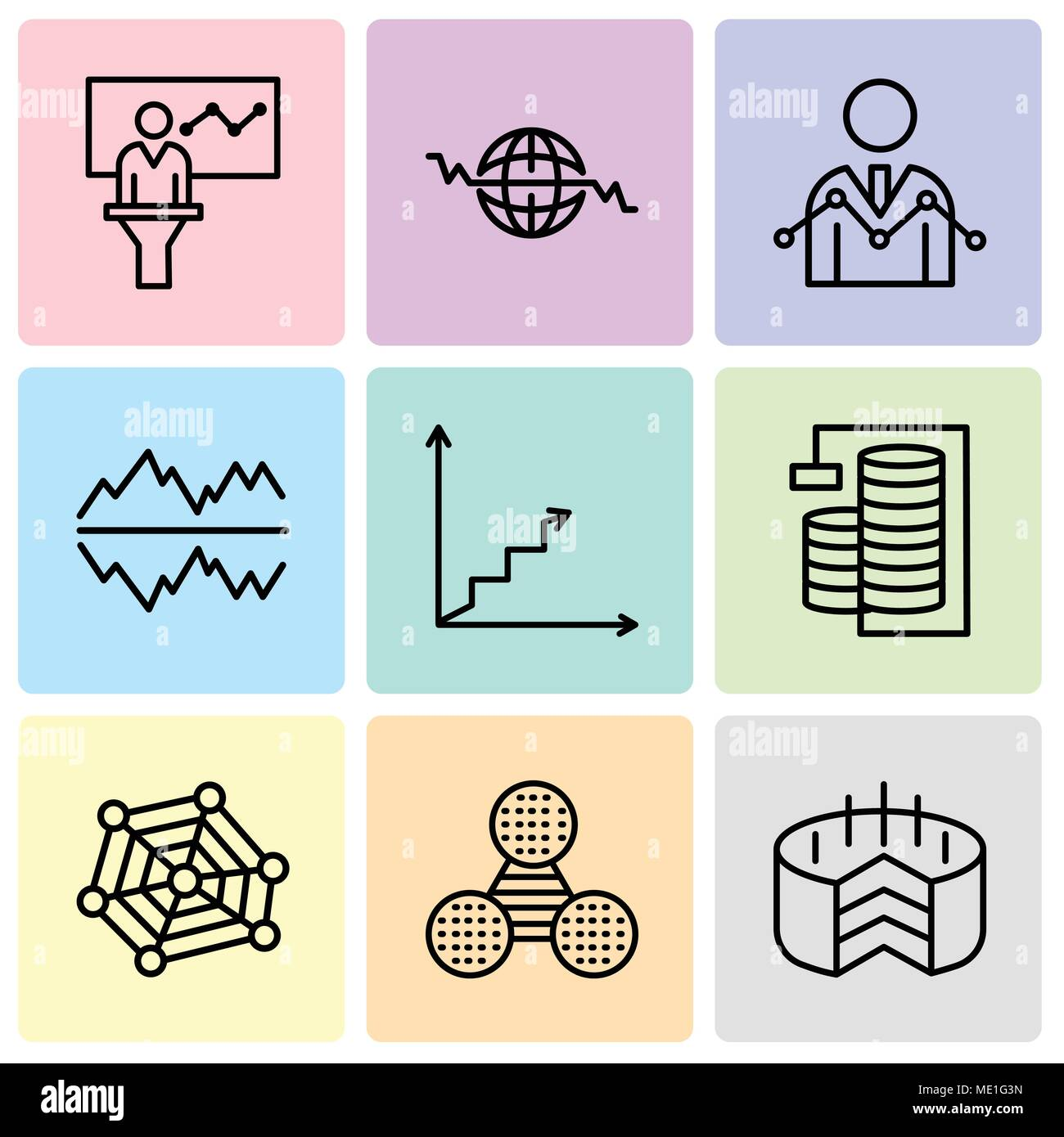 Set Of 9 simple editable icons such as Folder Connected Circuit, Pie graphic comparison, radar chart with pentagon, Database Analysis, Data analytics  - Stock Image