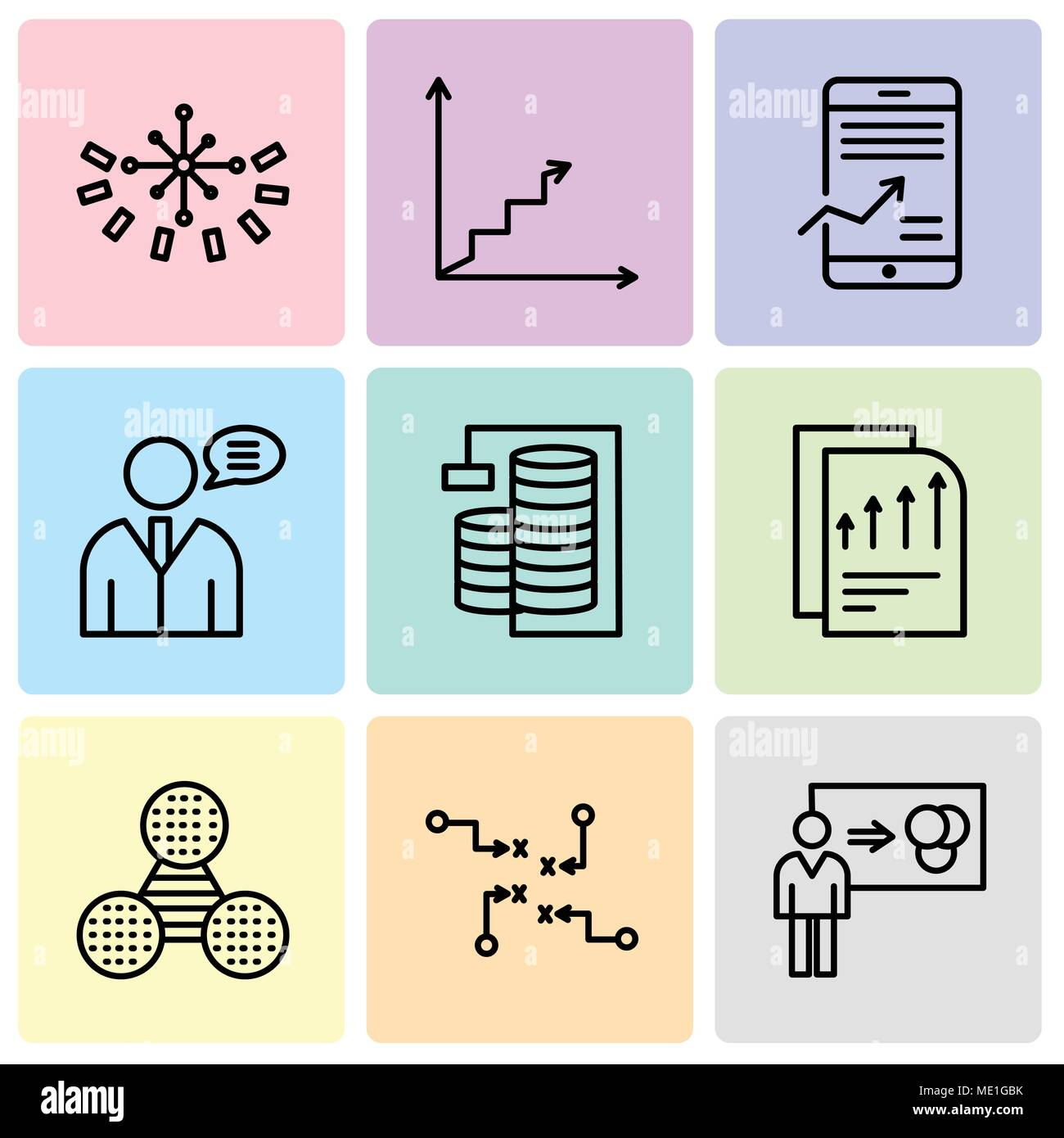 Set Of 9 simple editable icons such as Person explaining data, Strategy sketch, Pie graphic comparison, Bars chart page, Database Analysis, User data  - Stock Image