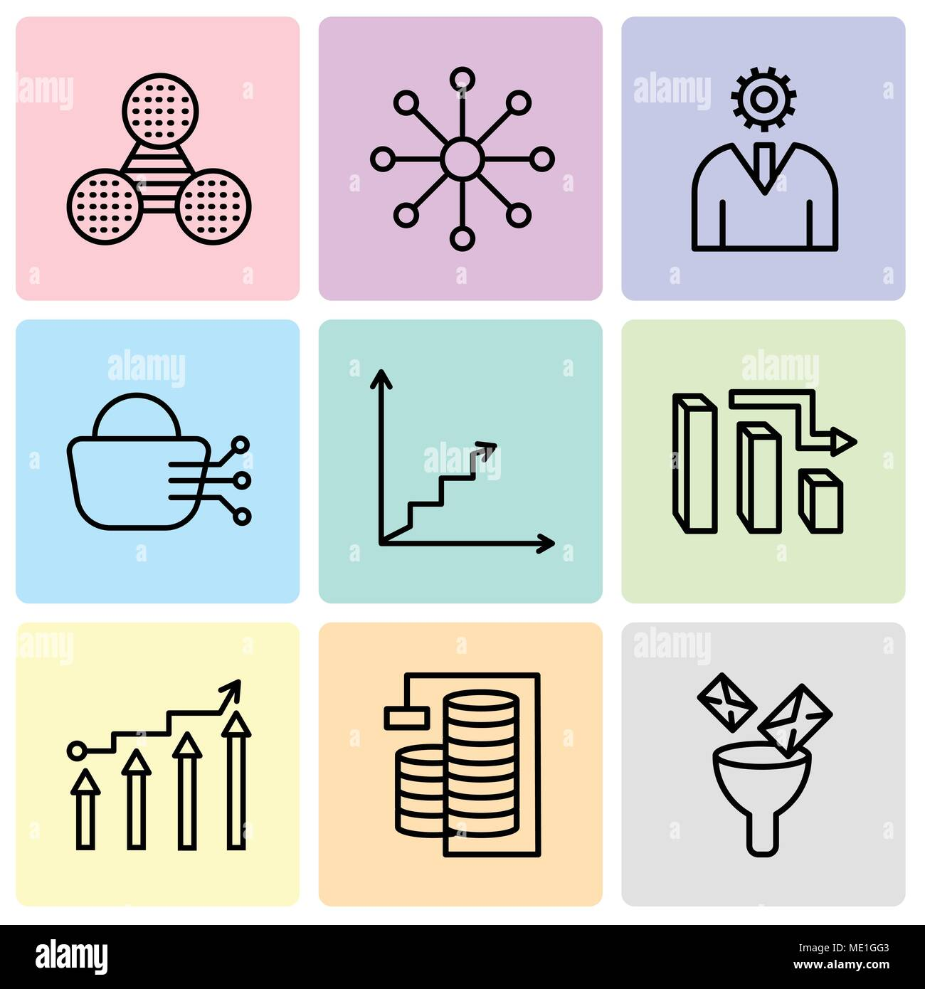 Set Of 9 simple editable icons such as Mail Funneling, Database Analysis, Binary Processed Mobile Analysis, 3d data analytics bars, Data analytics asc - Stock Image