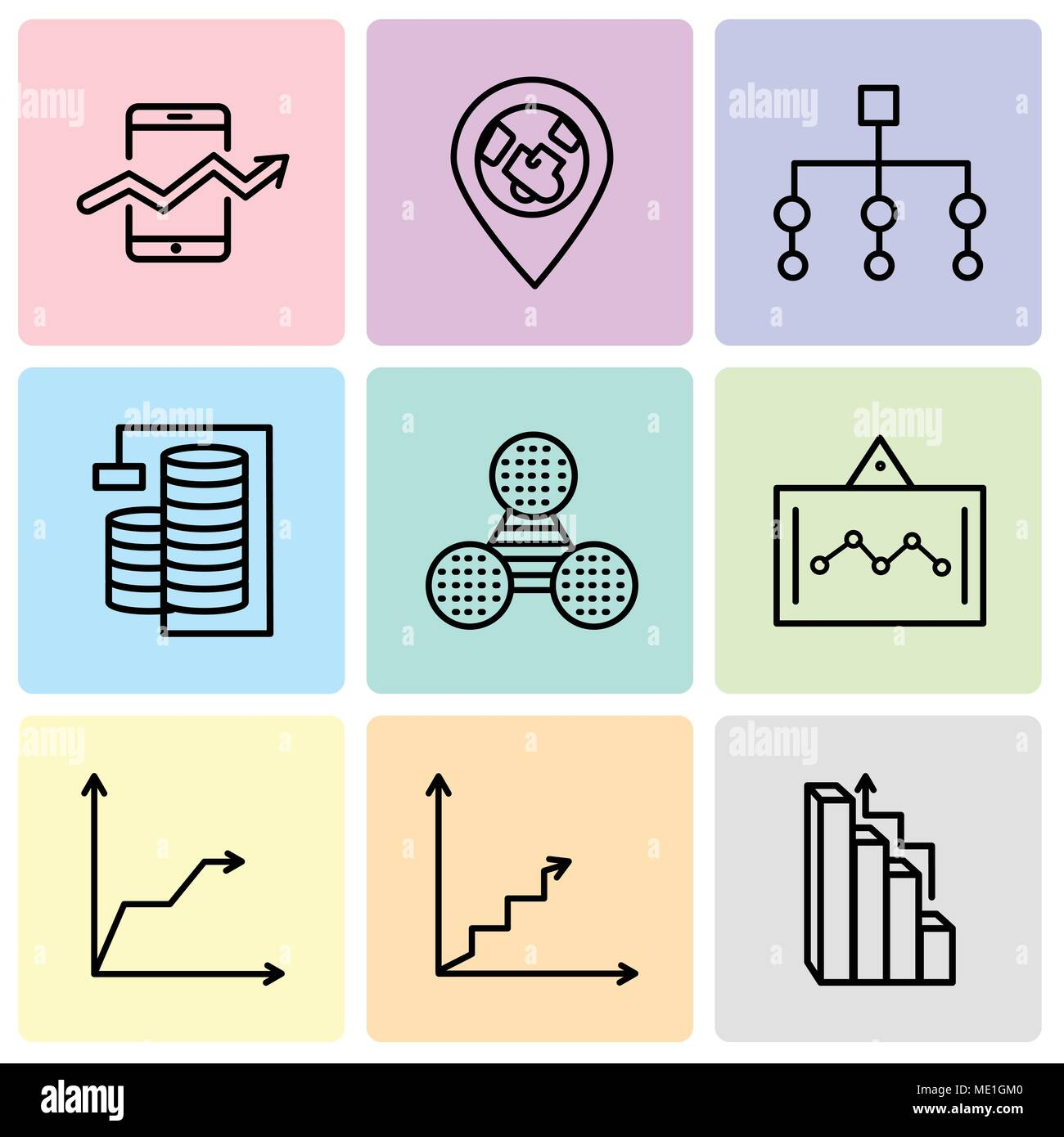 Set Of 9 simple editable icons such as Targeting, Data analytics ascending, Triangular pyramid, Data analytics screen, Pie graphic comparison, Databas - Stock Image