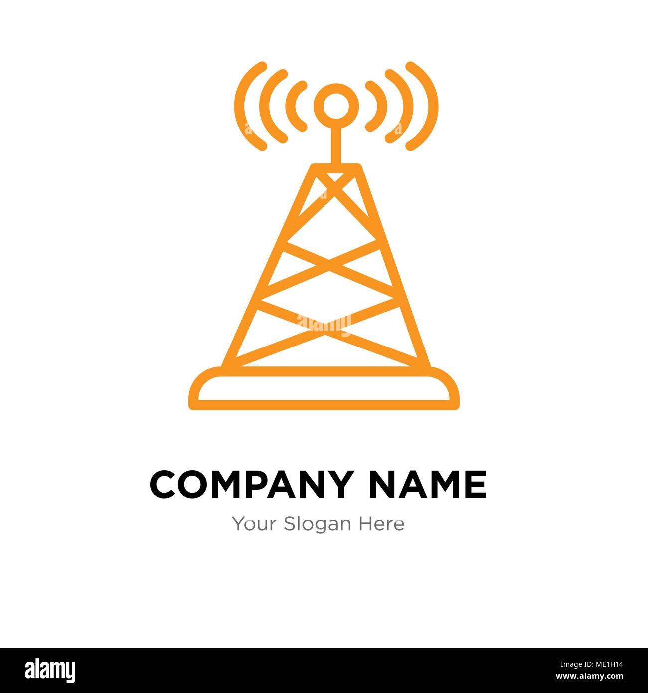 Antenna company logo design template, Business corporate vector icon - Stock Image