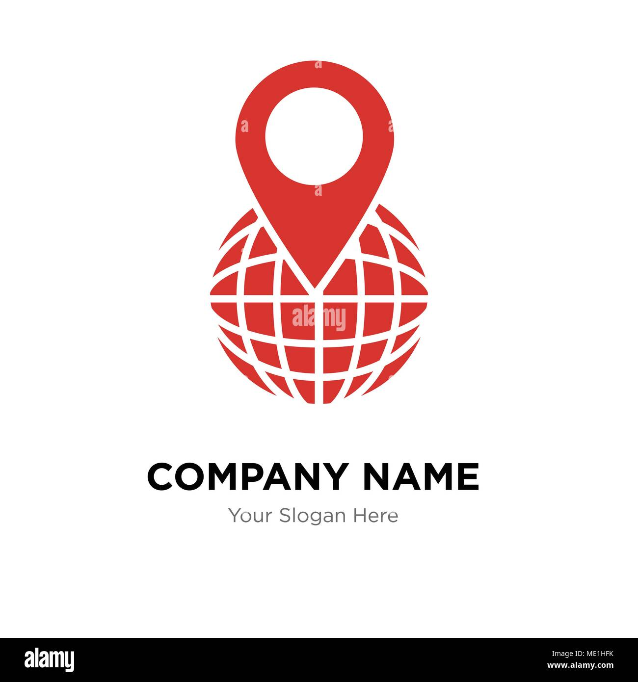world grid with placeholder company logo design template business