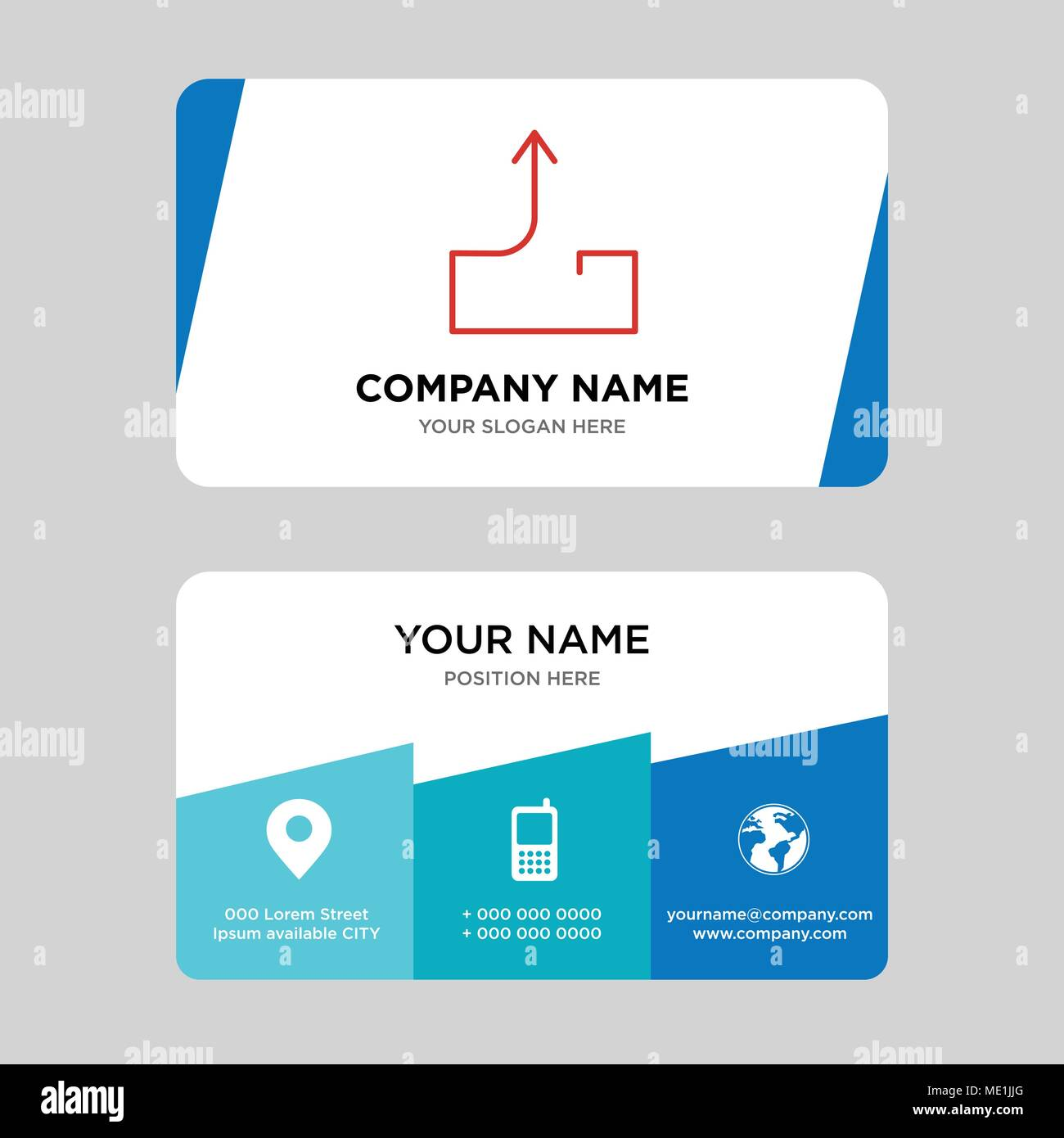 Outbox send mail business card design template, Visiting for your company, Modern Creative and Clean identity Card Vector Illustration - Stock Image