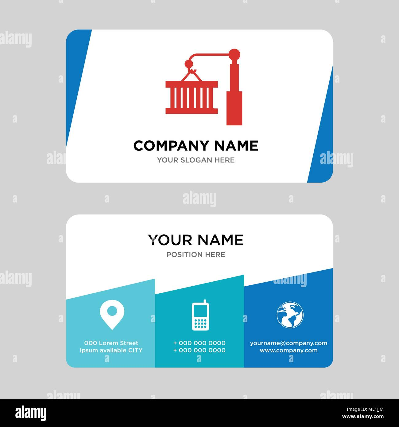 Container on a crane business card design template visiting for container on a crane business card design template visiting for your company modern creative and clean identity card vector illustration colourmoves