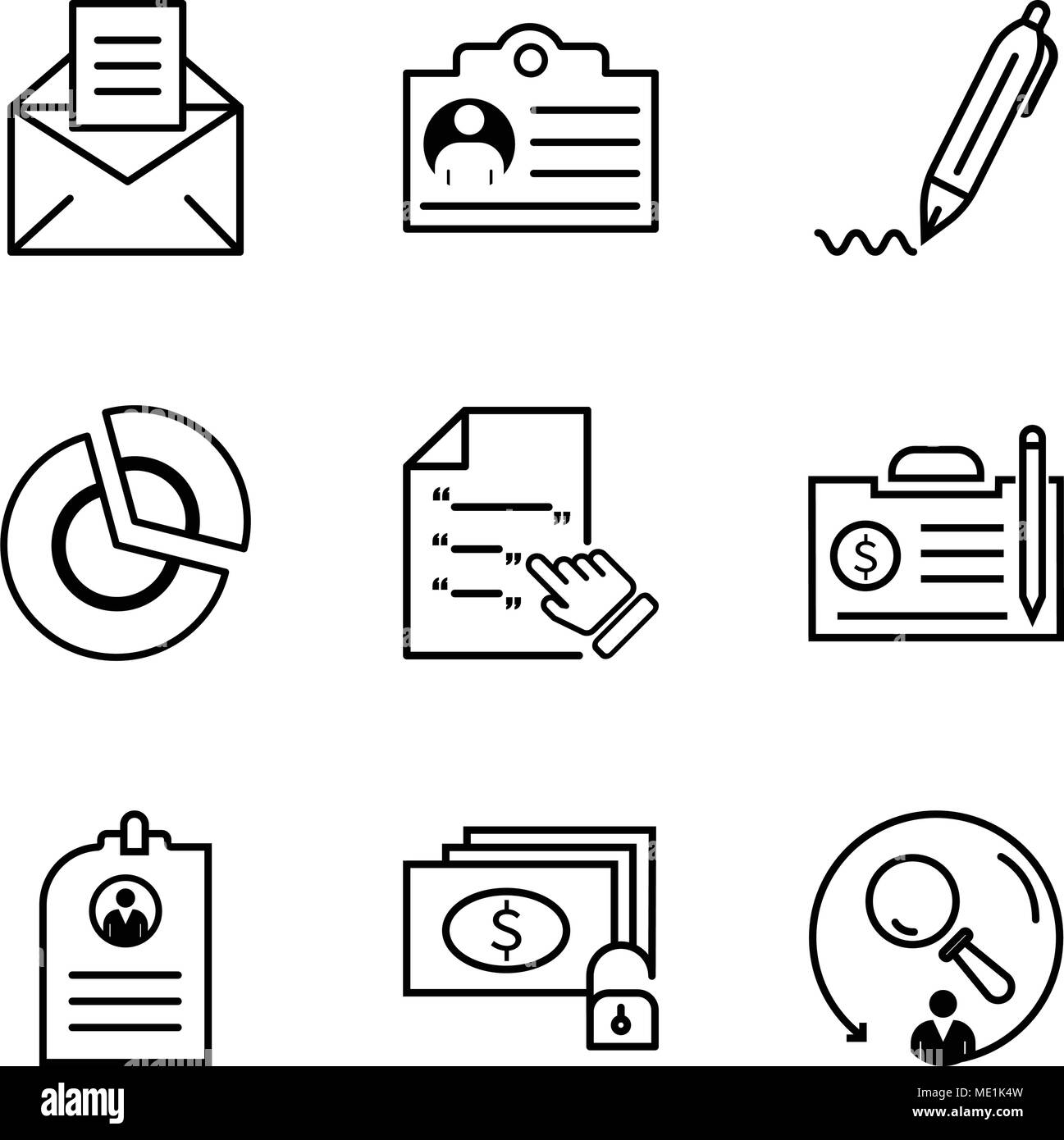 set of 9 simple editable icons such as searching money and key cv