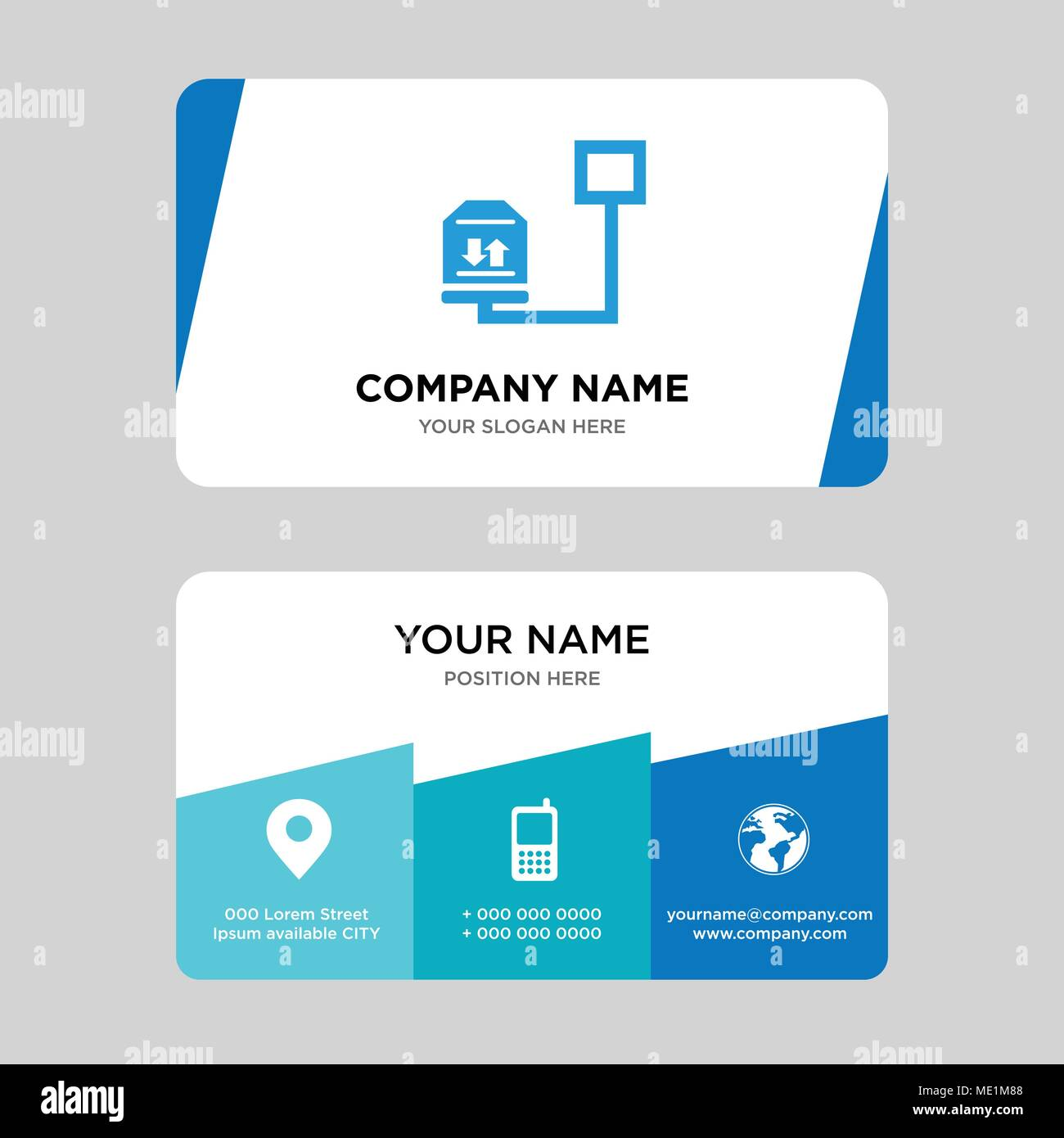 Weight of delivery package on a scale business card design template weight of delivery package on a scale business card design template visiting for your company modern creative and clean identity card vector illustr colourmoves