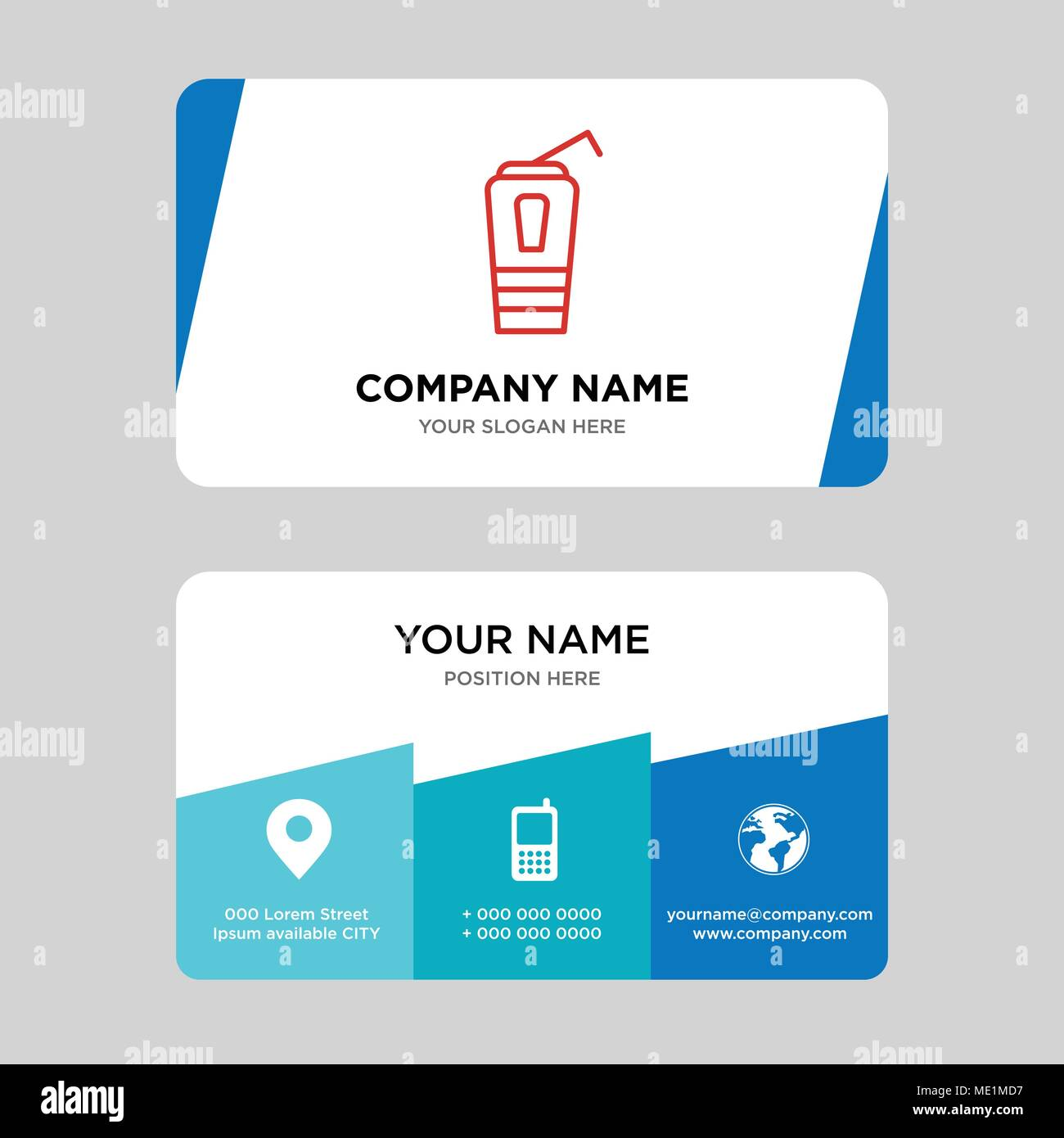 Paper cup with a drinking straw business card design template ...