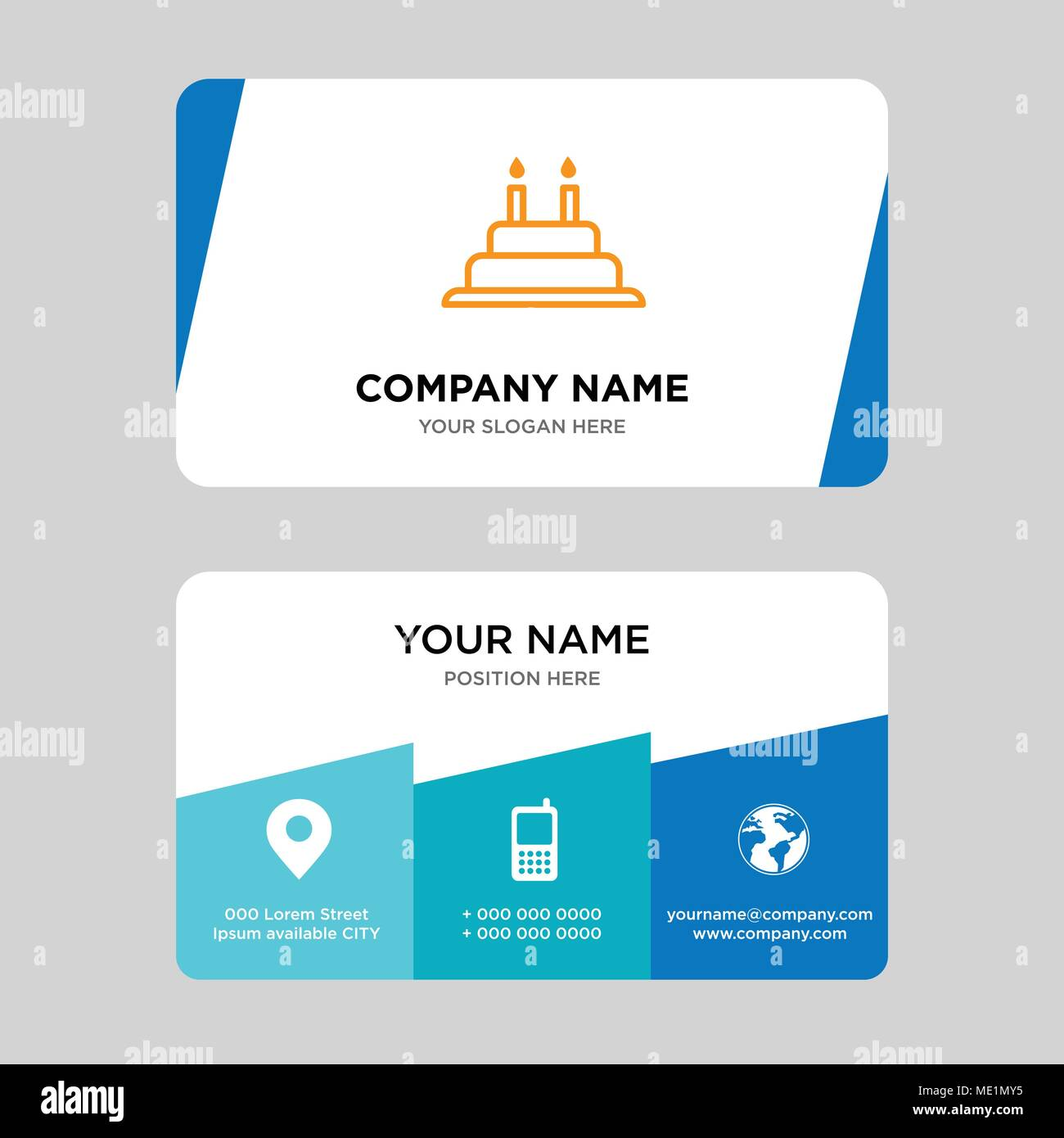 cake with candles business card design template visiting for your