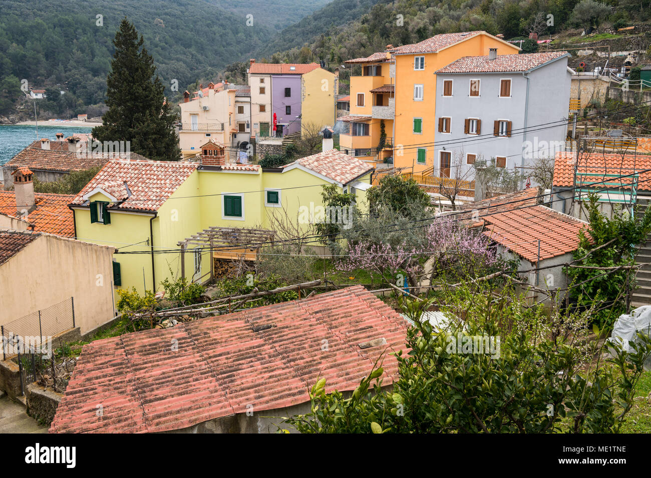 The small village Valun on the Island Cres (Croatia) on a cloudy day in spring Stock Photo