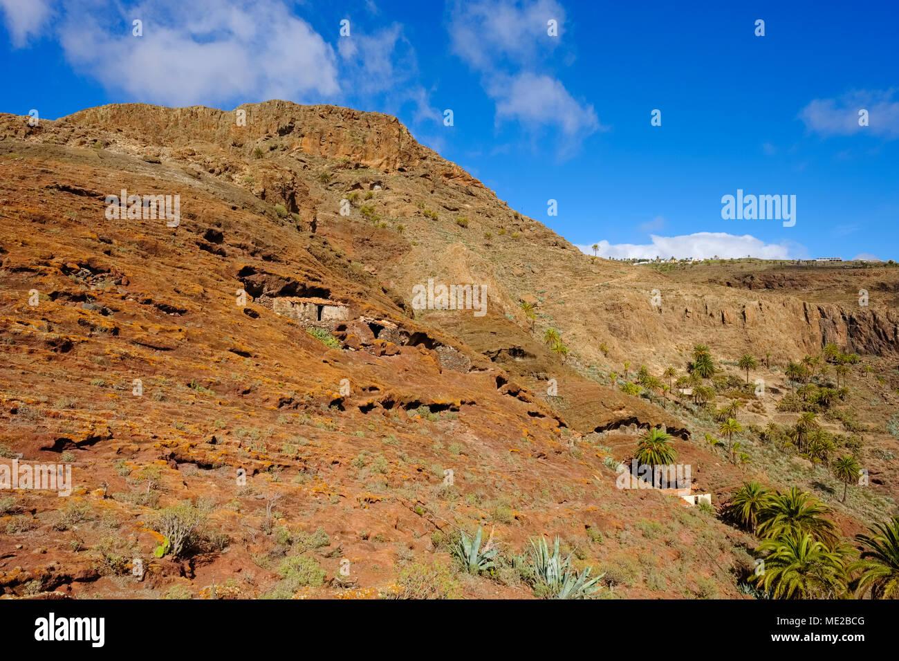 Ancient cave dwelling on Calvario Mountain, Alajero, La Gomera, Canary Islands, Spain - Stock Image