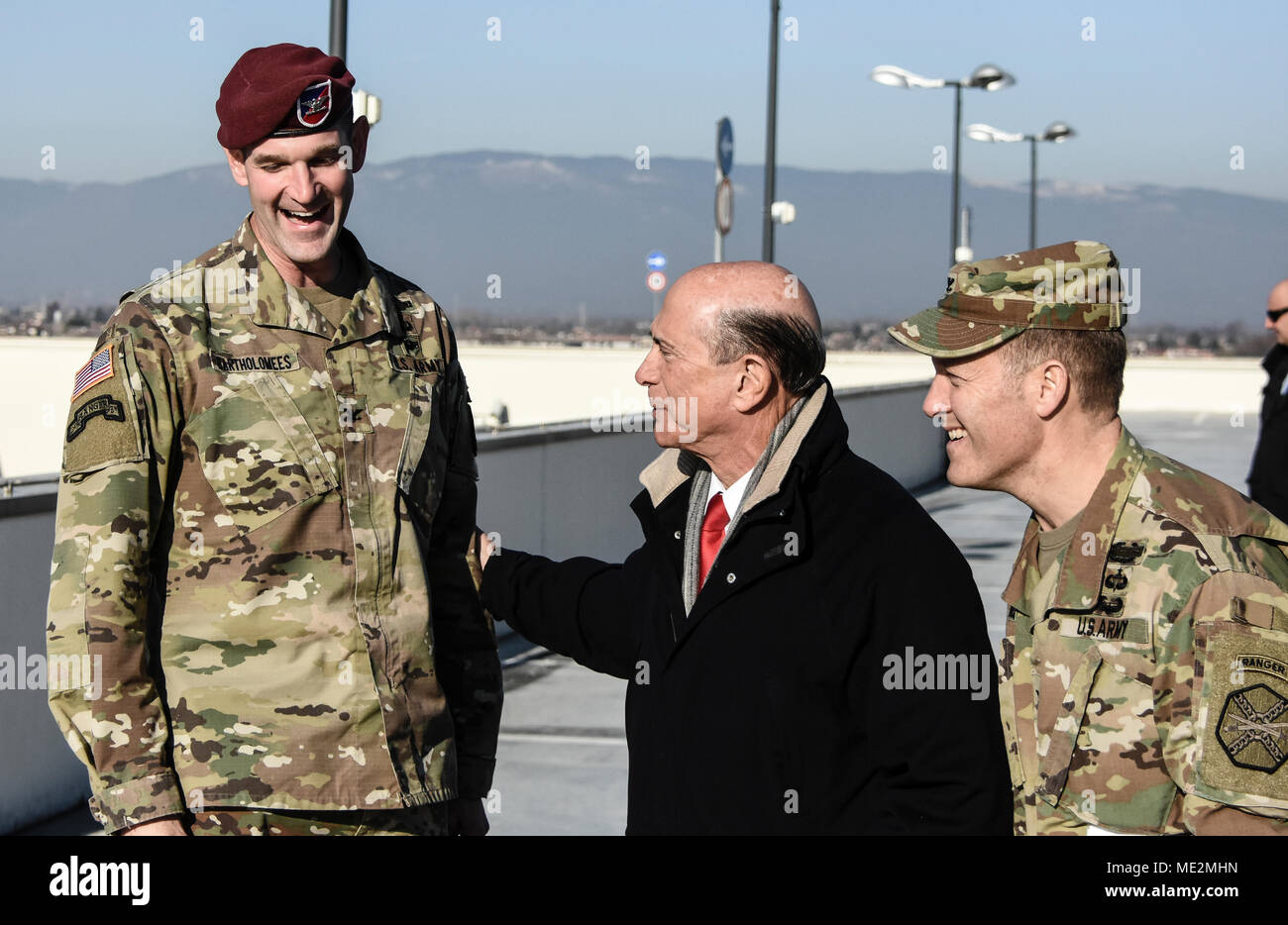 US Ambassador Lewis Eisenberg meets with Colonel Bartholomees, 173rd Airborne Brigade commander, Colonel Berdy, USAG-Italy commander at the Del Din military base in Vicenza, Italy. Stock Photo