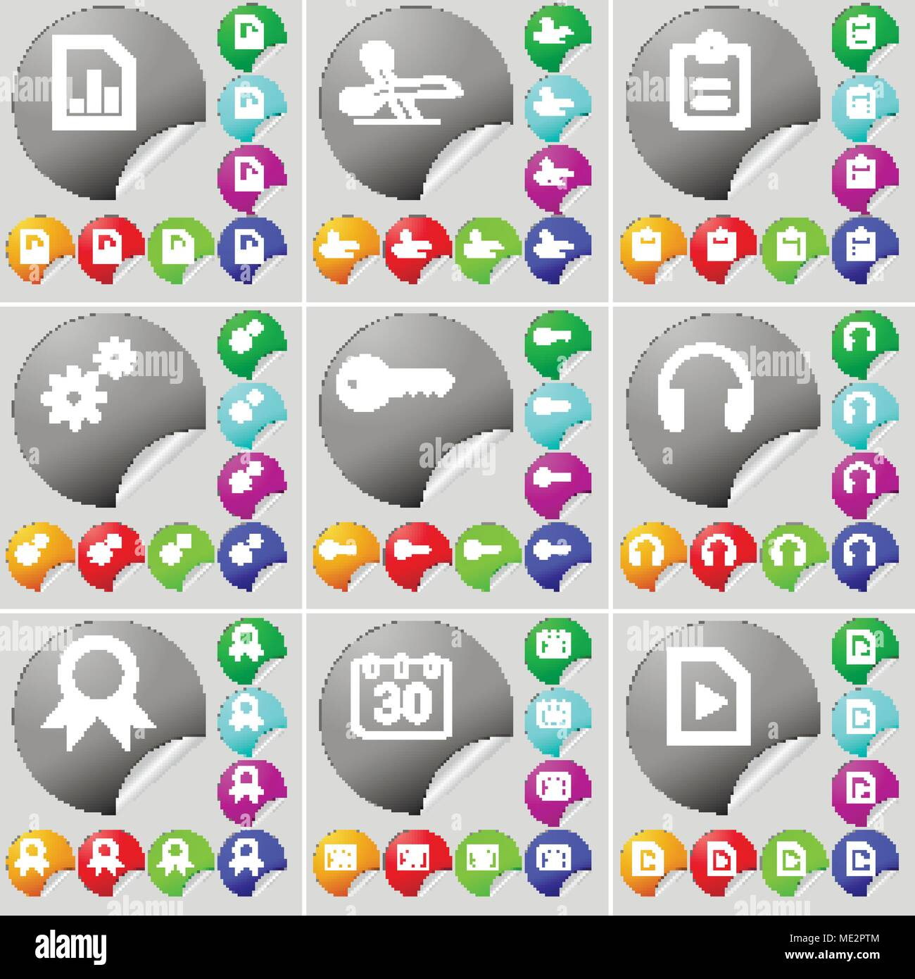 diagram file, scissors, survey, gear, key, headphones, medal, calendar,  media file sign icon  a set of seventy two colorful round buttons,  stickers  v