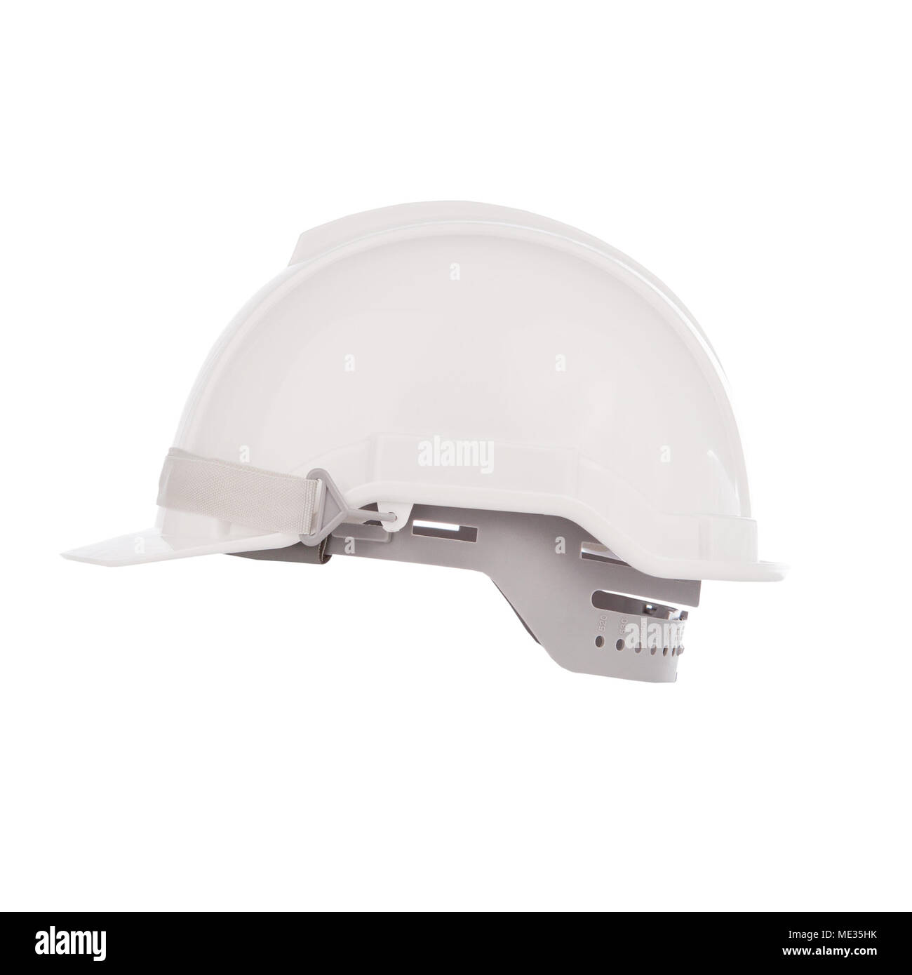 side view of white safety helmet isolated background for multipurpose - Stock Image
