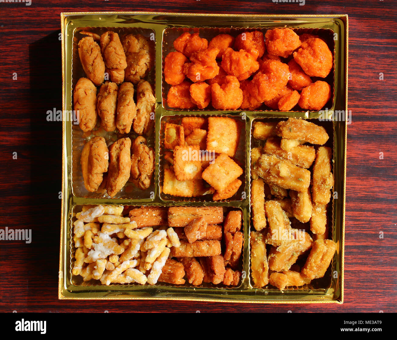 Box of Punjabi Bhaji distributed during Weddings in India - Stock Image