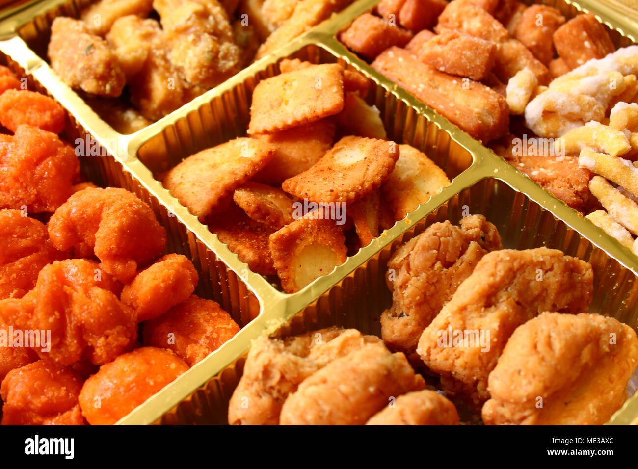 Close up of Punjabi Bhaji in a box distributed on the occasion of wedding in India - Stock Image